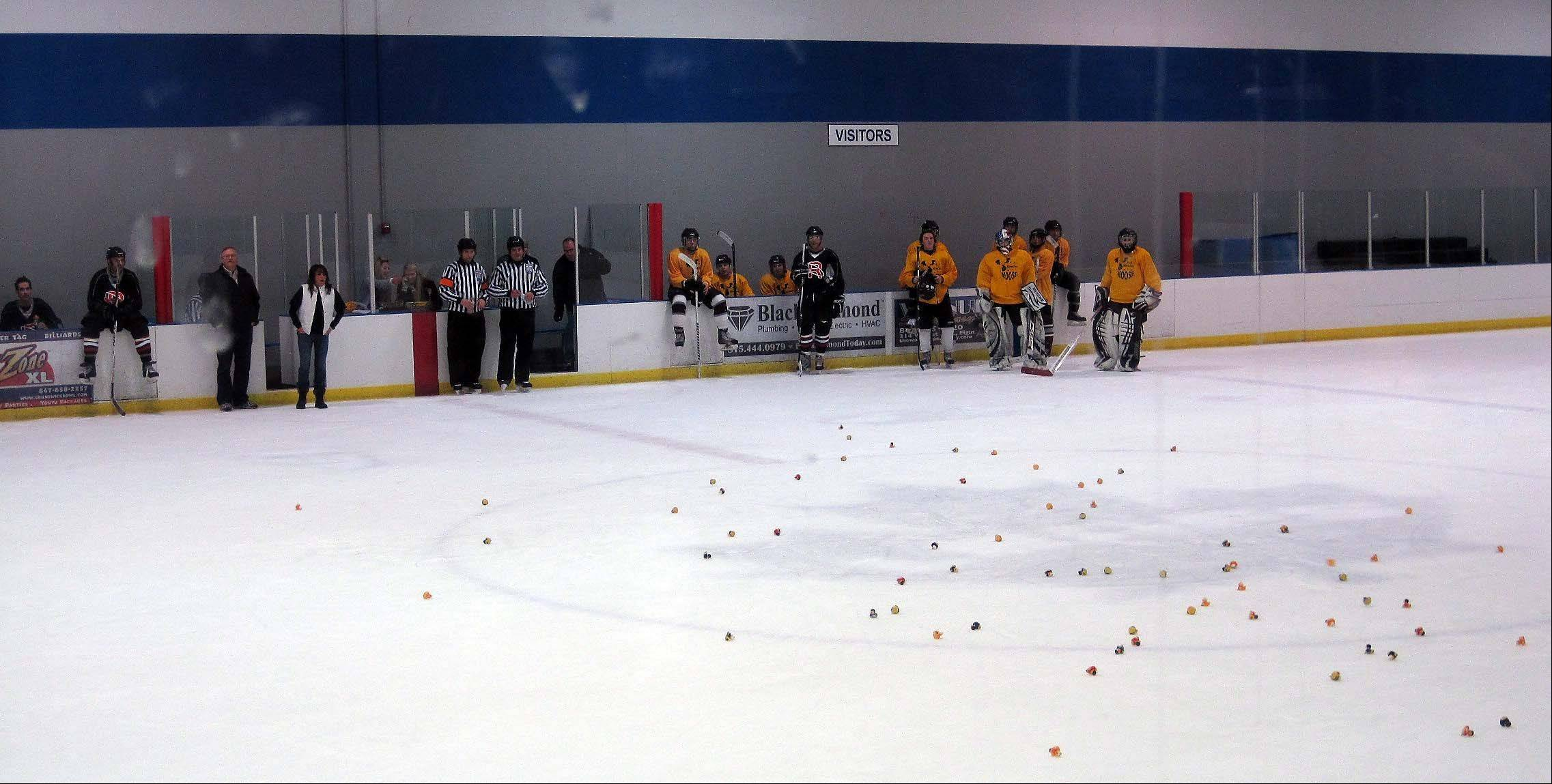 "A game of ""Chuck-a-Duck"" was part of a ""Miracles for Moose"" benefit hockey game and raffle attended by about 40 people on Saturday at Leafs Ice Centre in West Dundee. The event raised funds for the family 18-year-old Anthony ""Moose"" Mustari, of Crystal Lake, who is battling a rare form of leukemia."