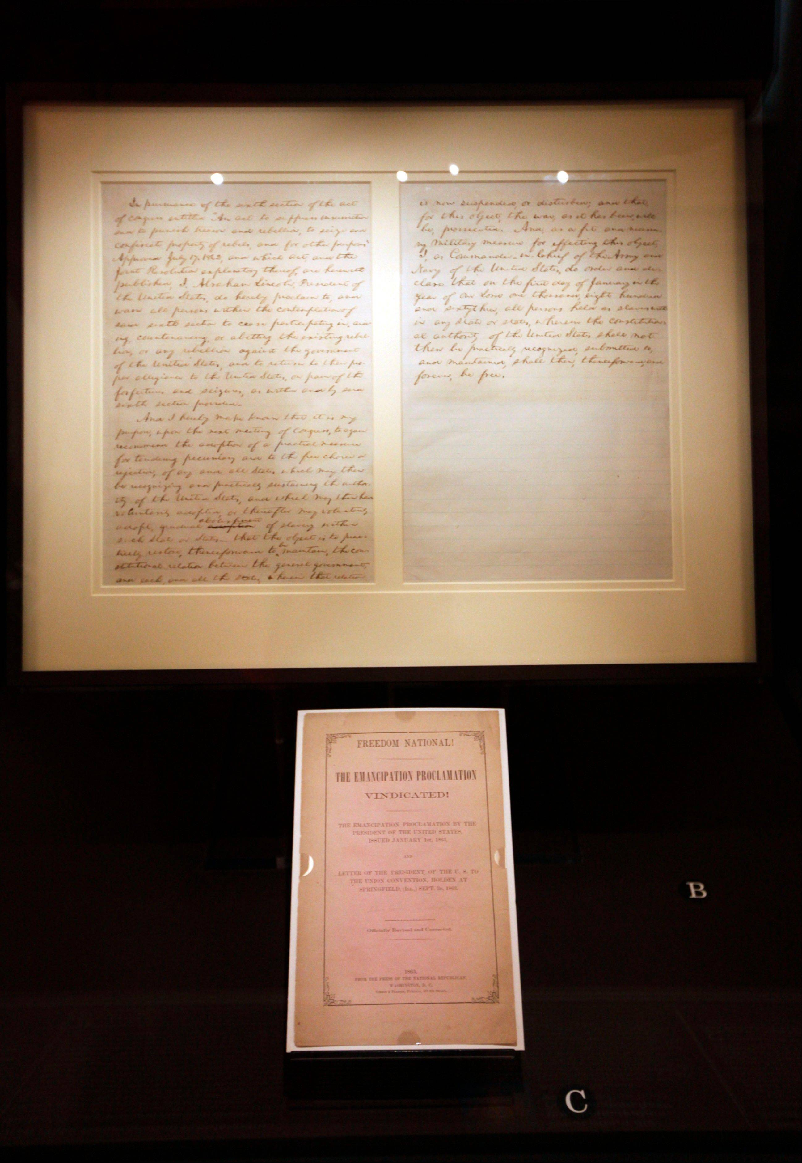 The first draft of President Abraham Lincoln's Emancipation Proclamation, which was presented to his full cabinet on July 22, 1862, is displayed at the Library of Congress in Washington.
