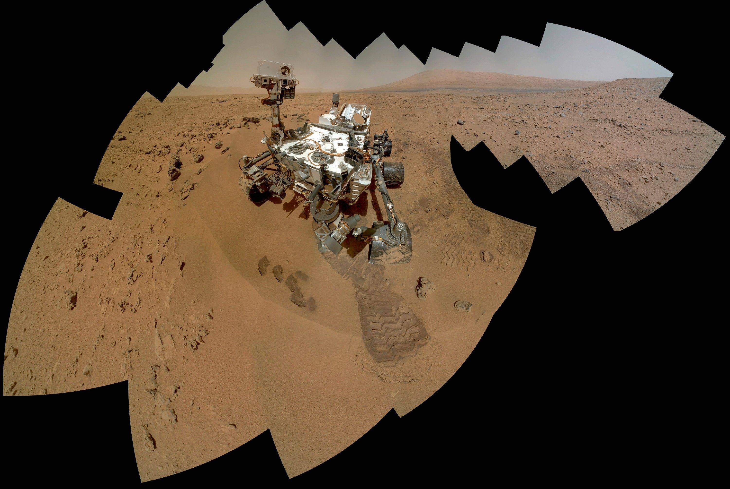 This NASA photo shows a color self-portrait of the Mars rover Curiosity. It is set to drive toward a Martian mountain in mid-February after drilling into a rock.