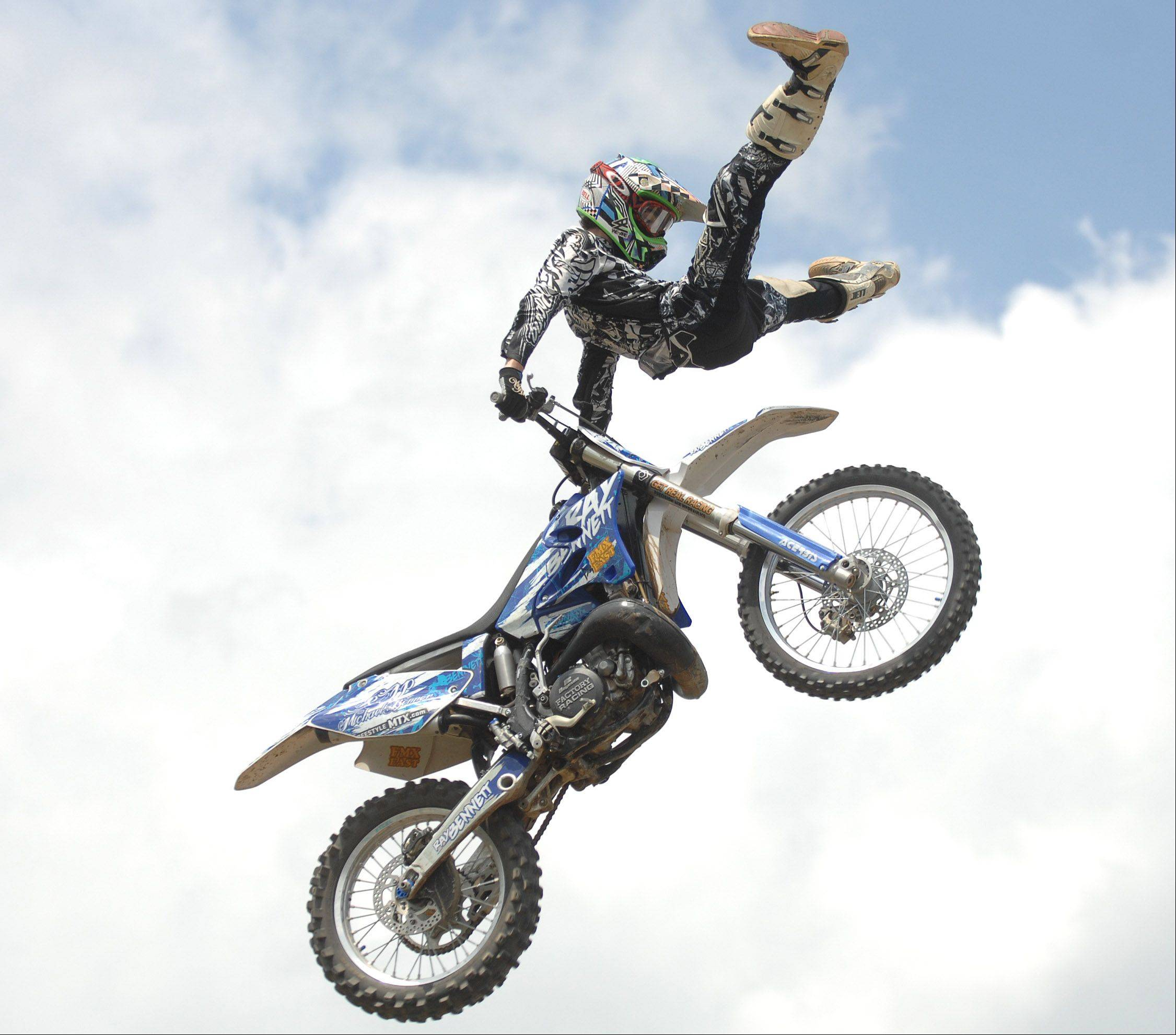 A dirt bike competitor takes to the skies at the DuPage County Fair in Wheaton.