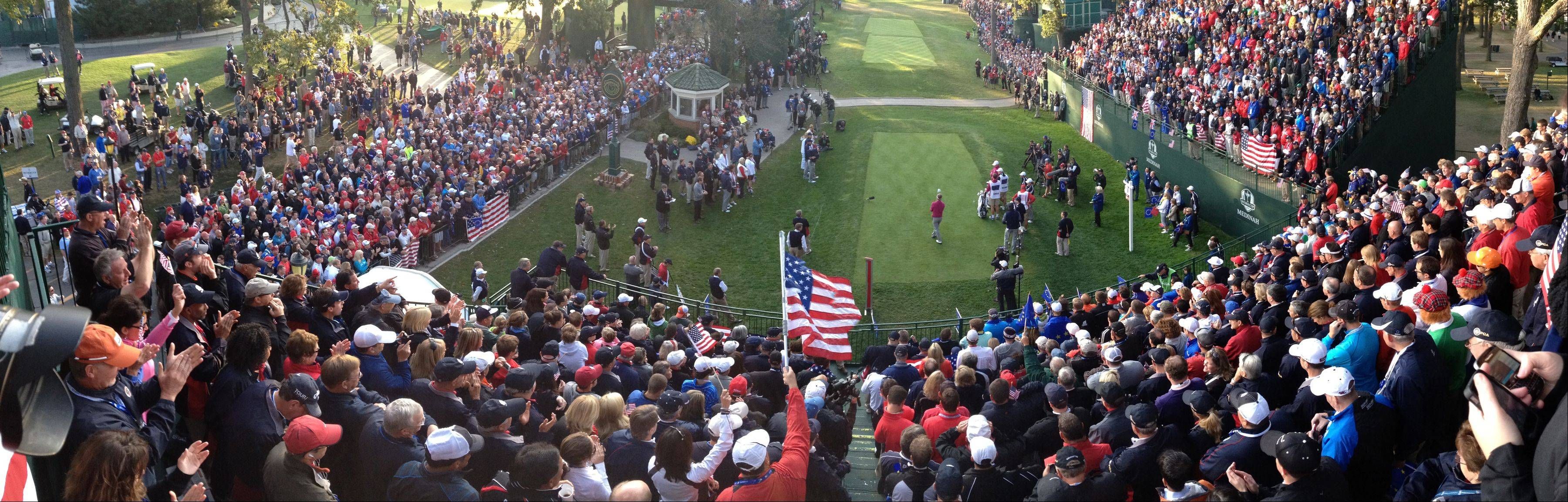 A panoramic photo of the fans at the first tee Saturday morning during day two of the 2012 Ryder Cup at Medinah Country Club.