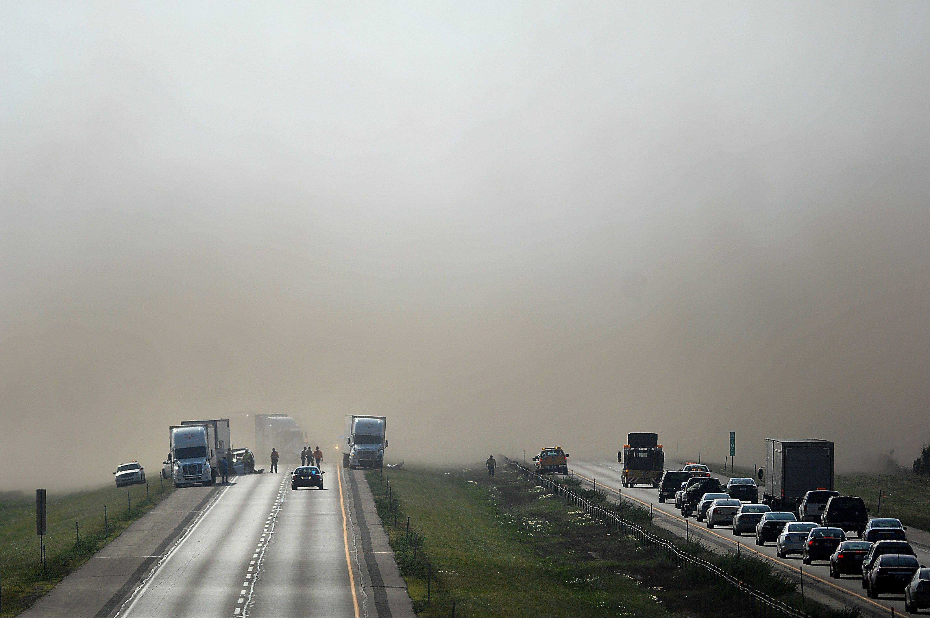 Eastbound I-88 near Dauberman Road in Kane County was shut down as police investigated an accident. High winds create a wall of dust that closed both lanes temporarily.