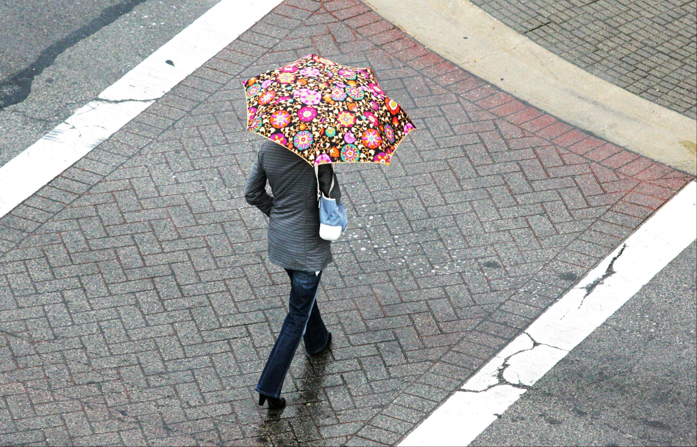 A cooling rain forces this downtown Naperville shopper to dig for her umbrellas while crossing the Main St. and Van Buren Ave. intersection.