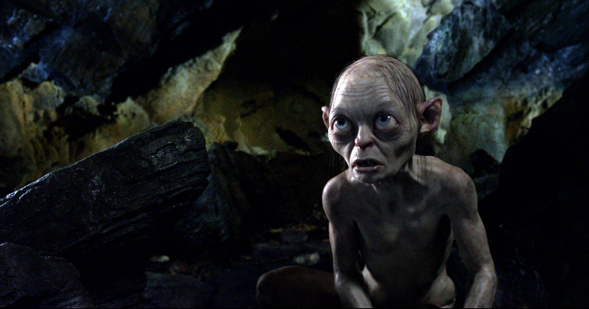 "This publicity file photo released by Warner Bros., shows the character Gollum voiced by Andy Serkis in a scene from the fantasy adventure ""The Hobbit: An Unexpected Journey."" The film made nearly $33 million to hang on to the top spot at the box office."