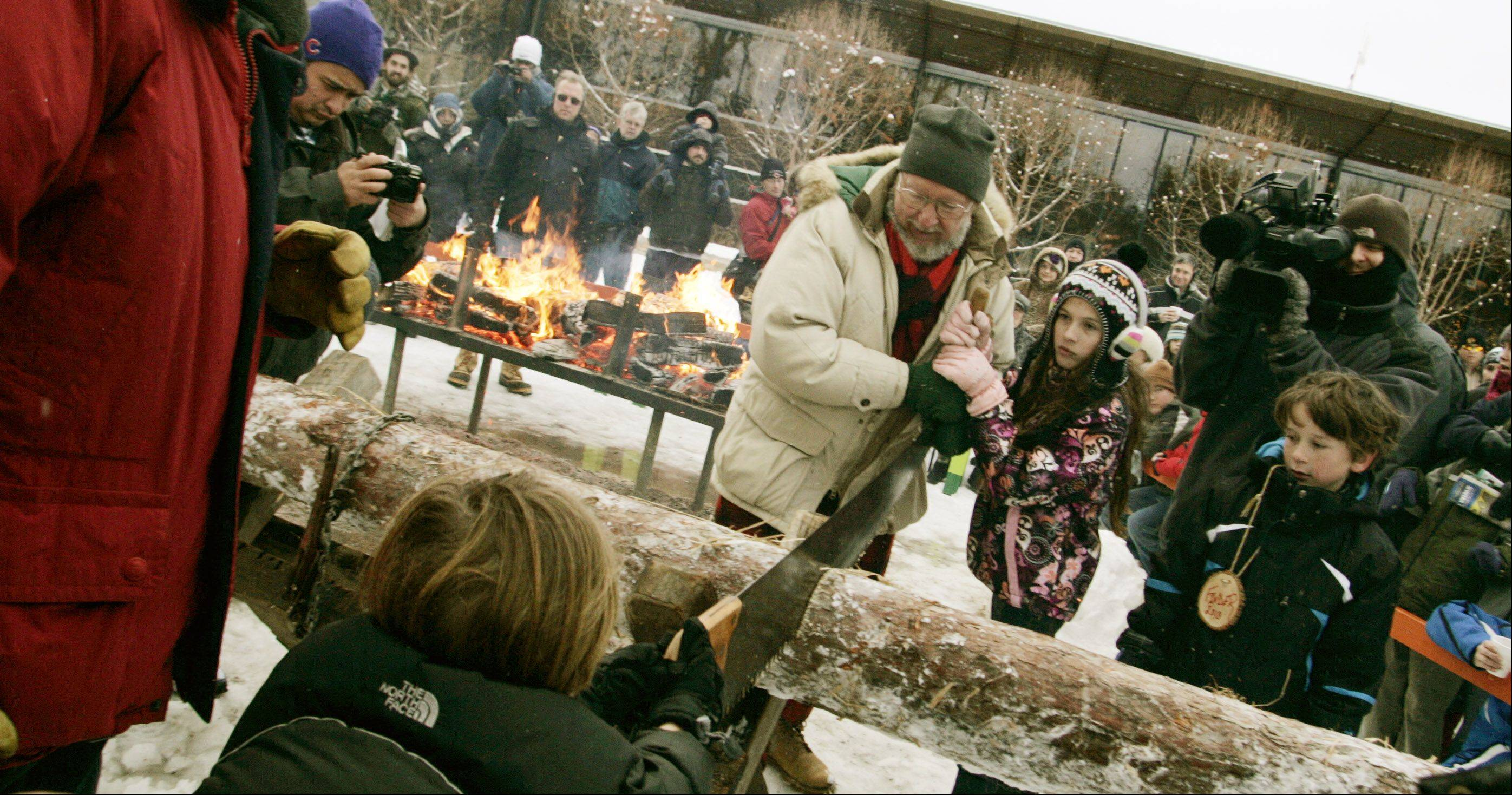 A youth and volunteer cut into the Yule Log during last year's Hunt for the Yule Log at the Morton Arboretum in Lisle.
