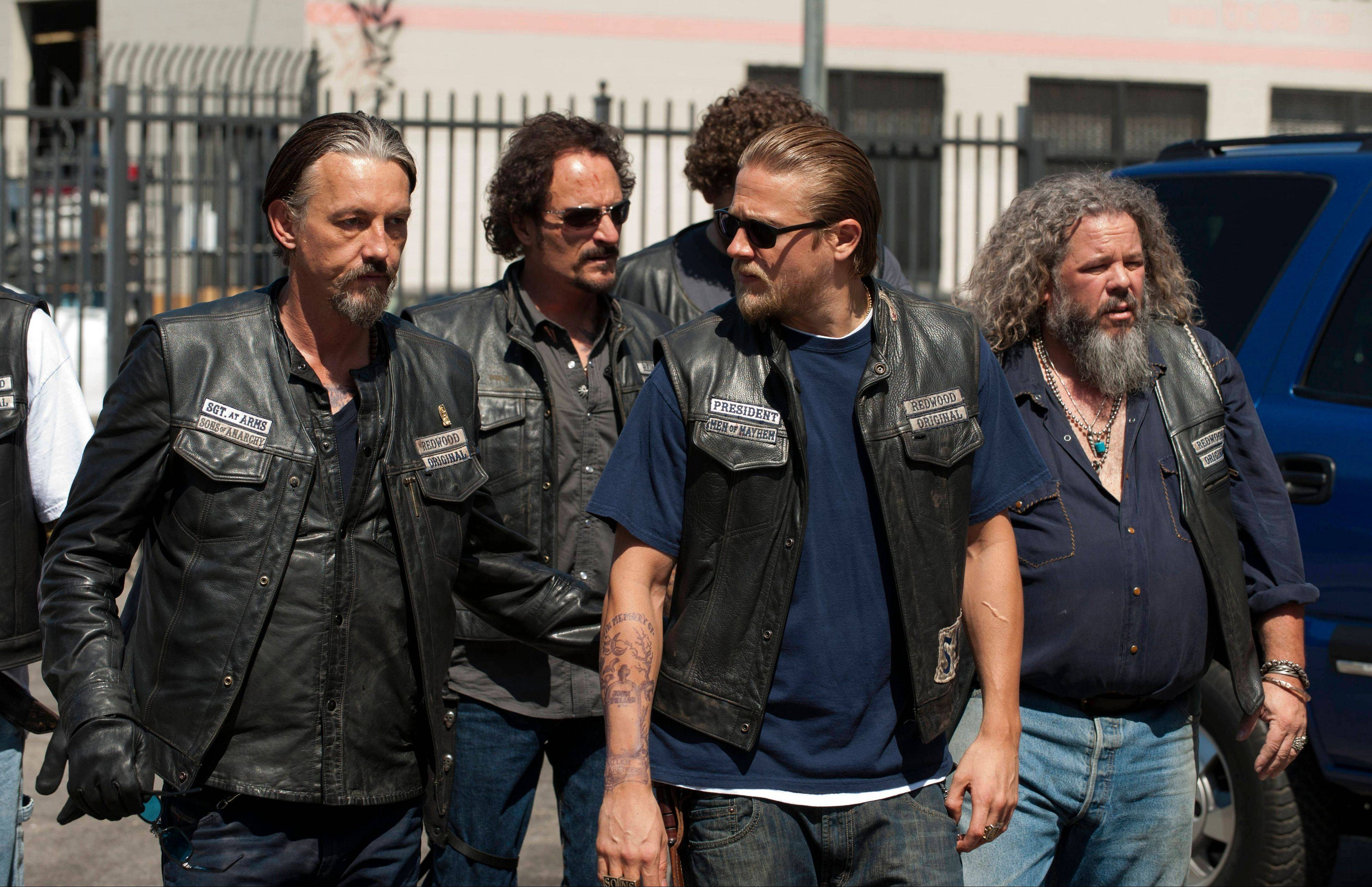 "FX's ""Sons of Anarchy"" was wilder than ever this year. It stars Tommy Flanagan, left, Kim Coates, Charlie Hunnam and Mark Boone Junior."