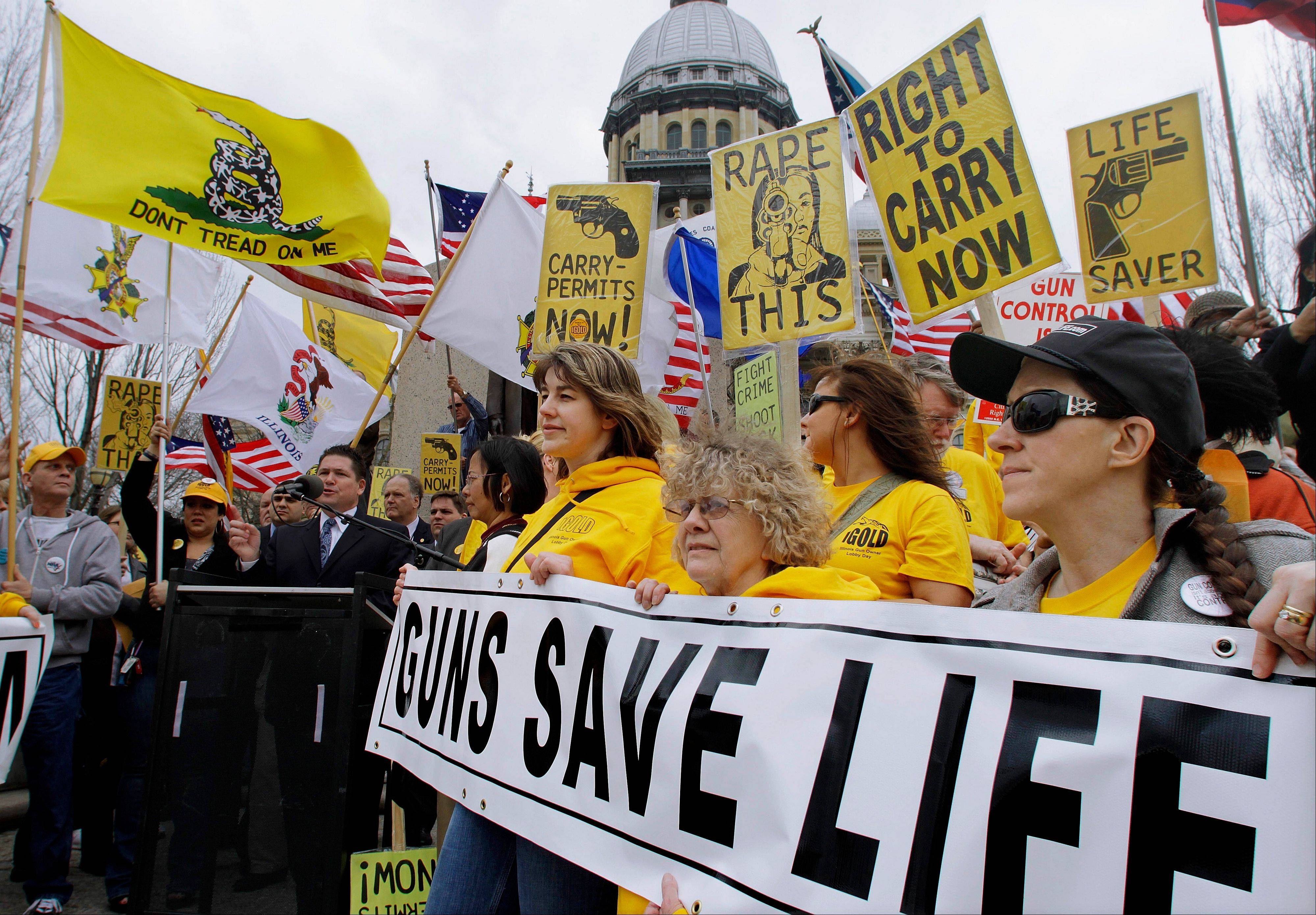 Members of the pro-gun group Guns Save Life rally at the Illinois State Capitol last March 7.