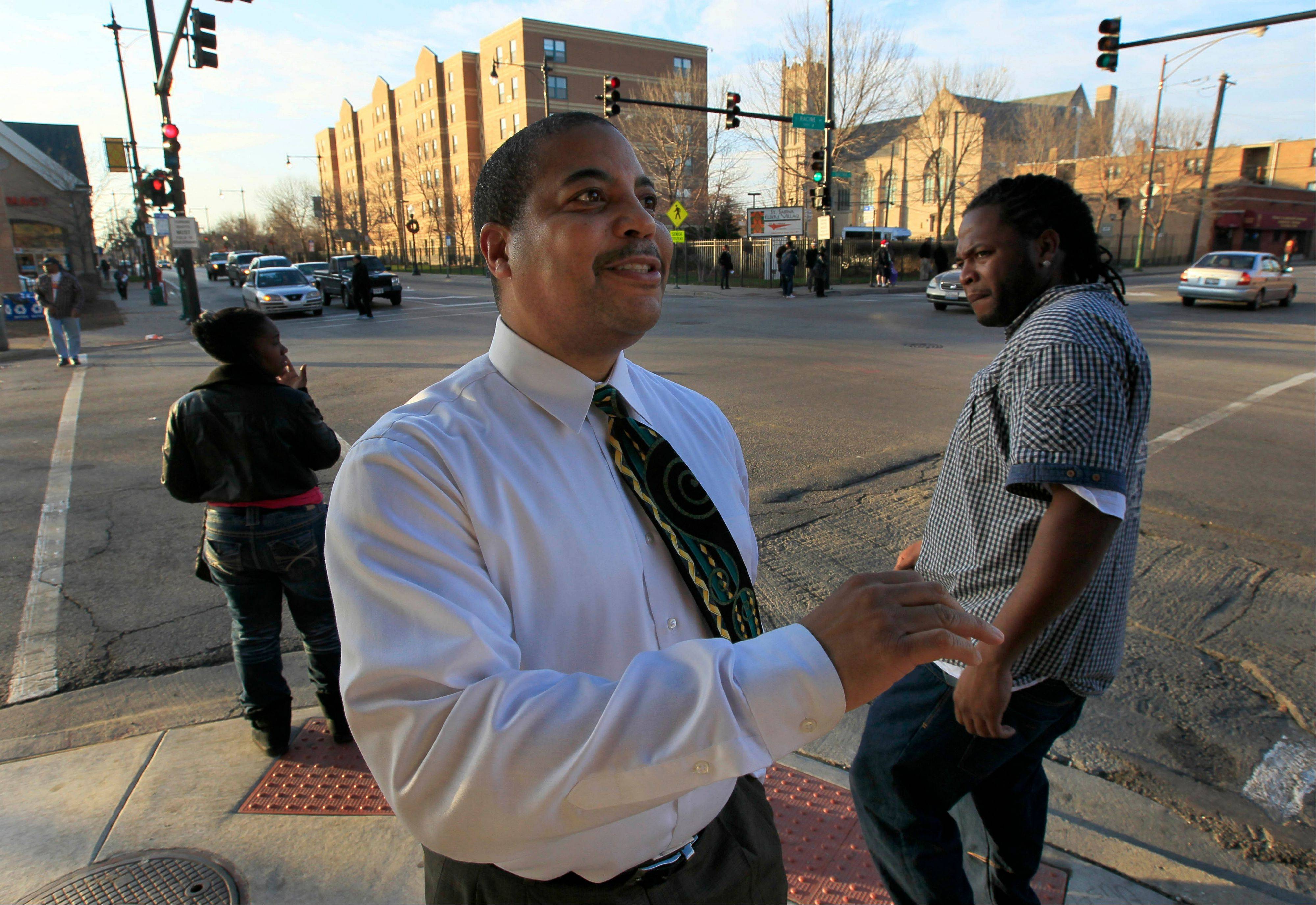 Carlos Nelson, head of the Greater Auburn Gresham Development Corp., talks about the troubled neighborhood's future on Chicago's South Side earlier this month.