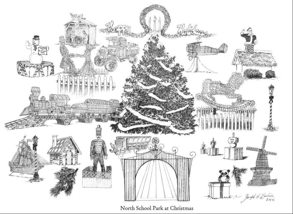 Prints of the holiday display at North School Park in Arlington Heights created by artist Joseph Burlini are available in exchange for a donation to the Wheeling Township Food Pantry.