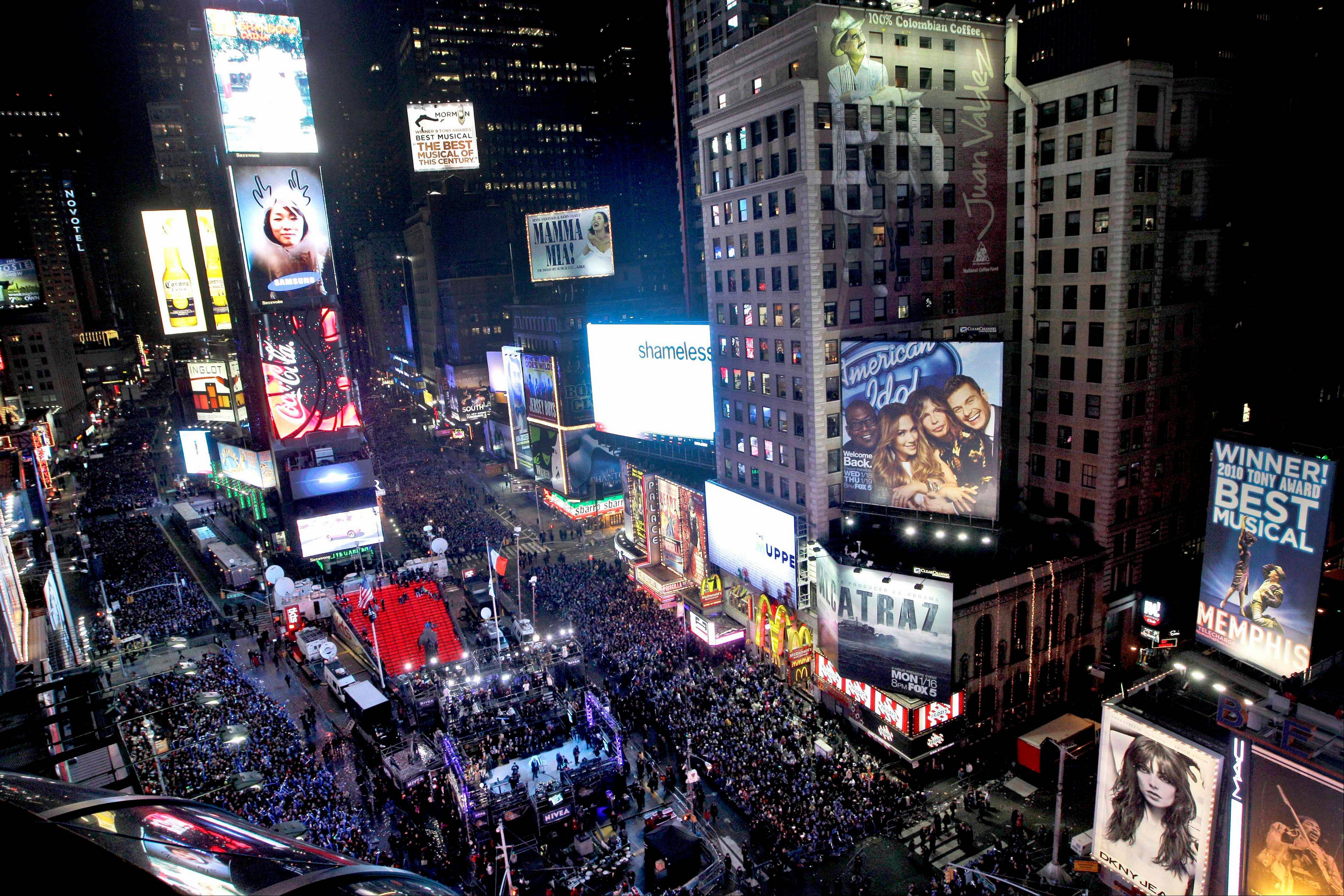 "The crowd packs New York's Times Square during the New Year's Eve celebration as seen from the Marriott Marquis hotel. It's no small task making sure the annual celebration remains safe, but the New York City police use an array of security measures for the event that turns the ""Crossroads of the World"" into a massive street party in the heart of Manhattan."