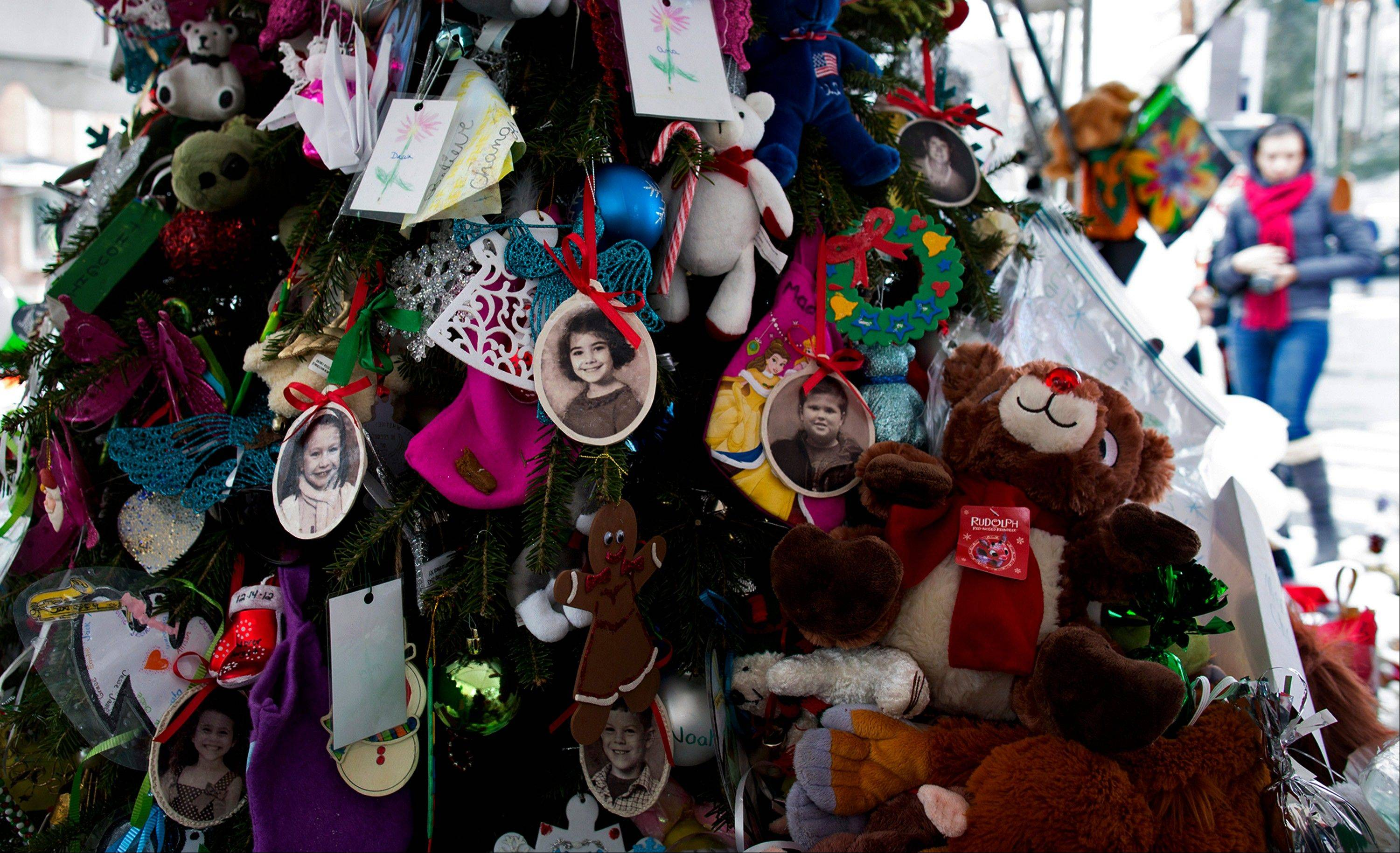 Portraits of slain students and teachers hang from a tree at a memorial in Newtown, Conn. On Saturday morning, 15 days after the shooting deaths, the mementos were removed.