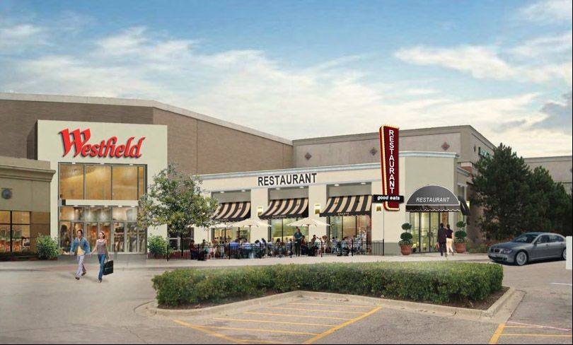A rendering showing how a proposed southwest entrance might look at Westfield Hawthorn mall in Vernon Hills.
