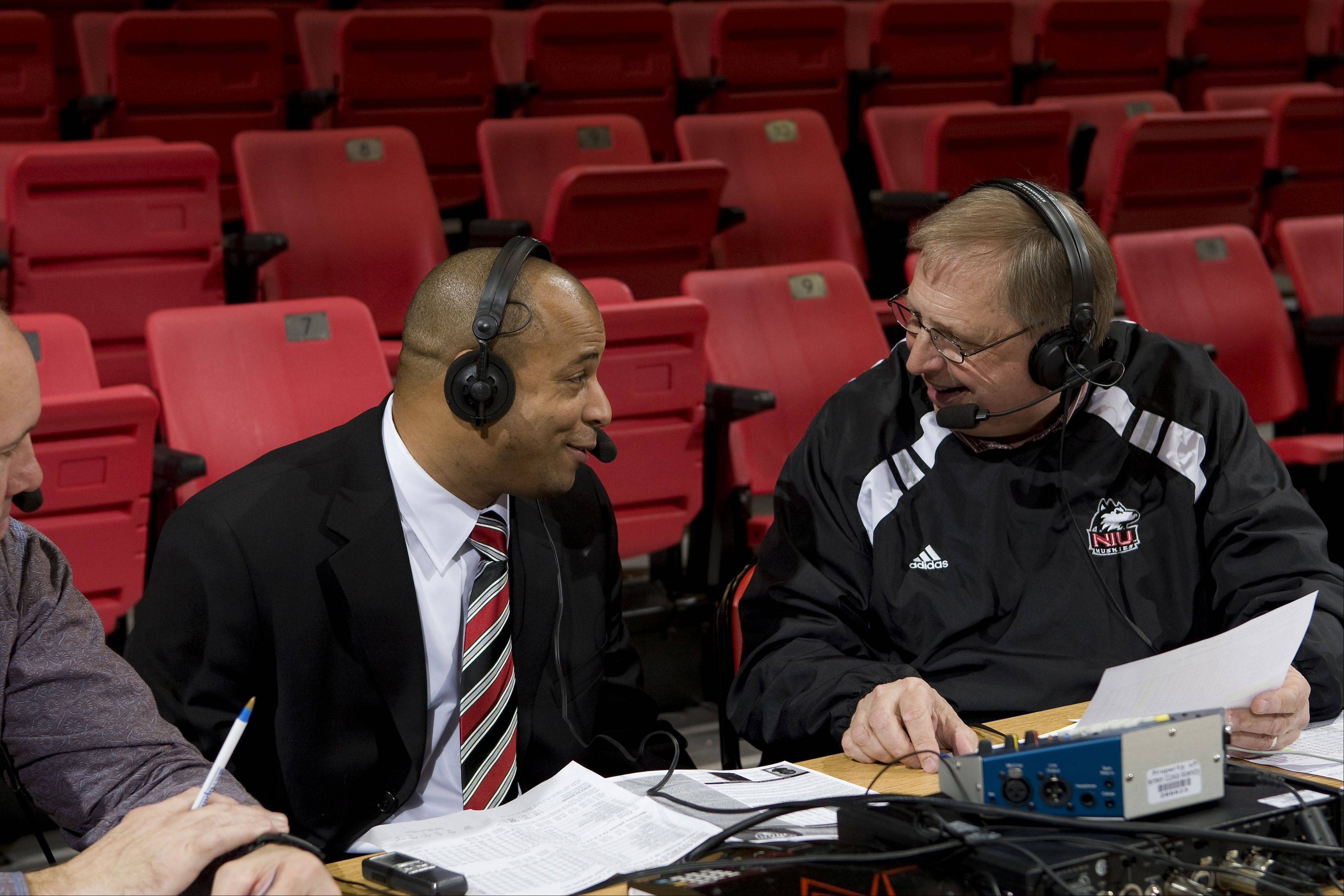 Northern Illinois play-by-play commentator Bill Baker, right, has been calling Huskies football and basketball for 33 years, and Tuesday he'll call his first Orange Bowl game when the Huskies play Florida State.
