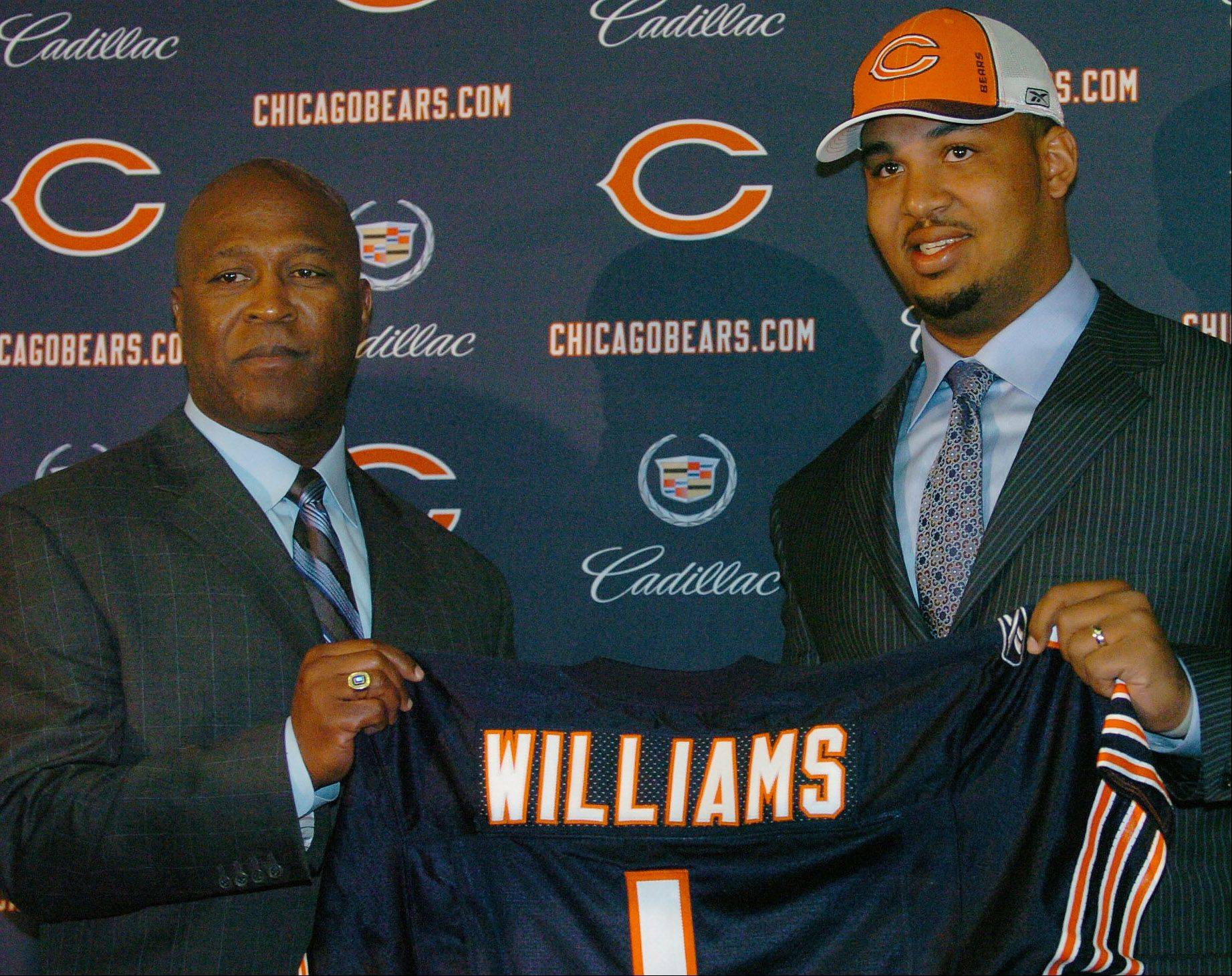 Bears number one draft choice Chris Williams is introduced at Halas Hall by Bears coach Lovie Smith.