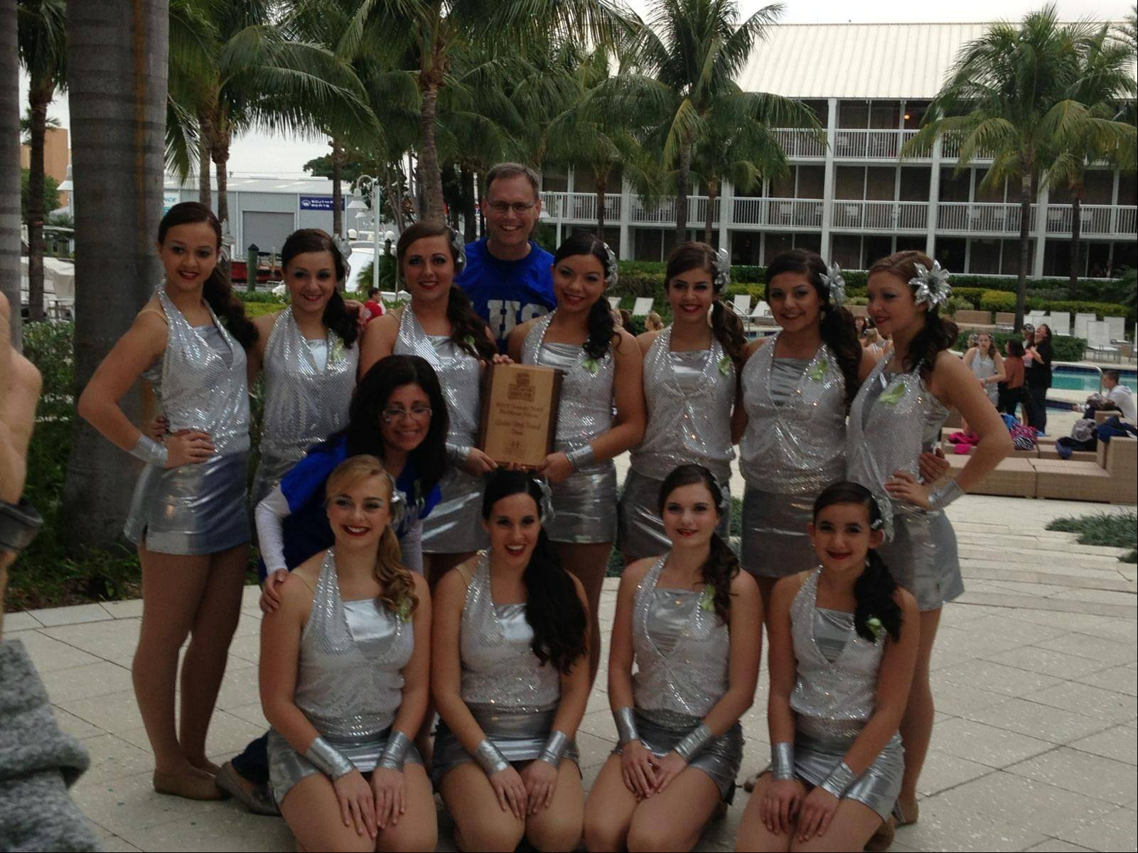Photo courtesy of Laura NewmeyerLarkin High School Poms with Principal, Dr. Jon Tuin before the Orange Bowl Tuesday January 1, 2013.