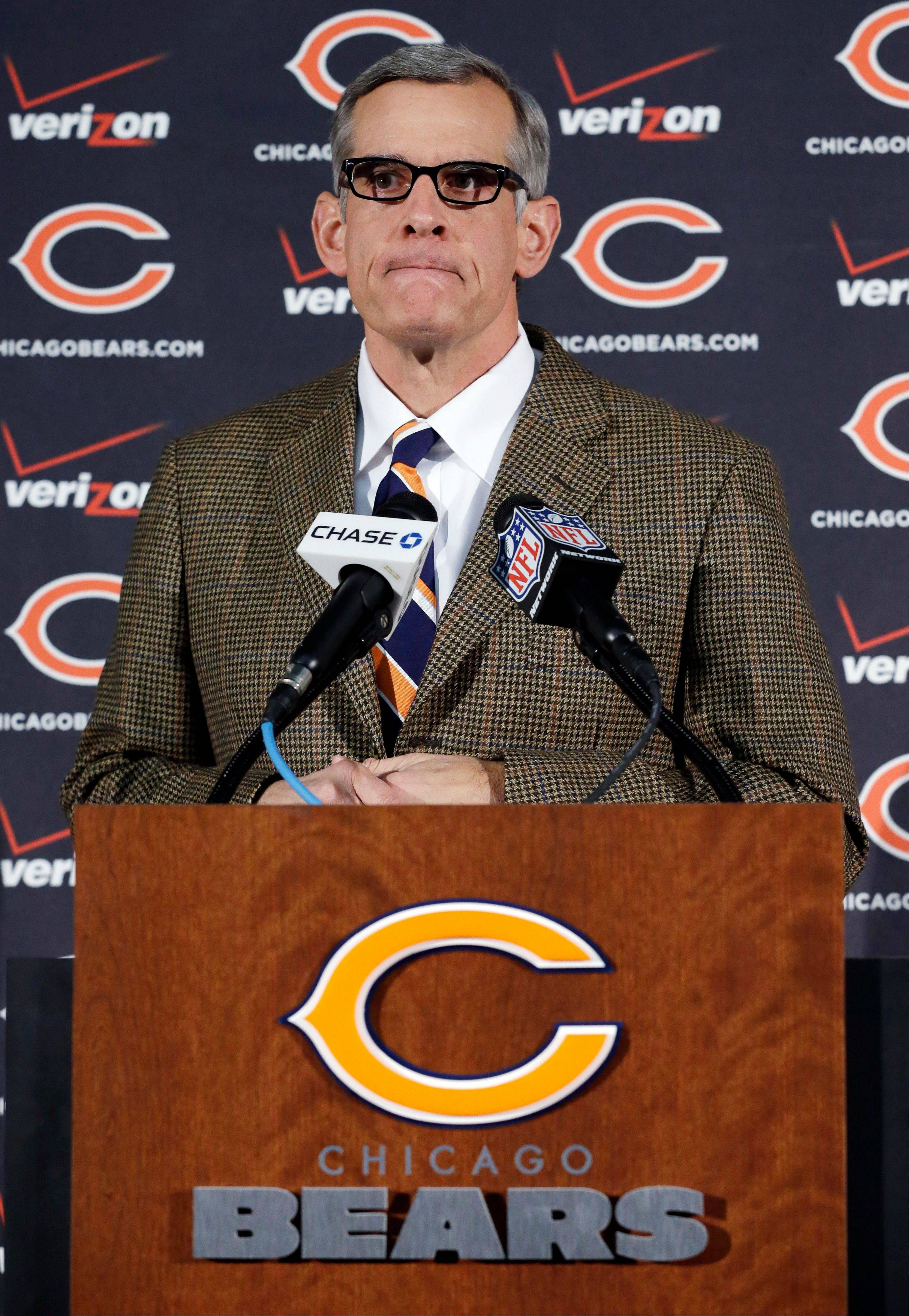 Bears general manager Phil Emery takes questions from the media the day after he dismissed coach Lovie Smith.