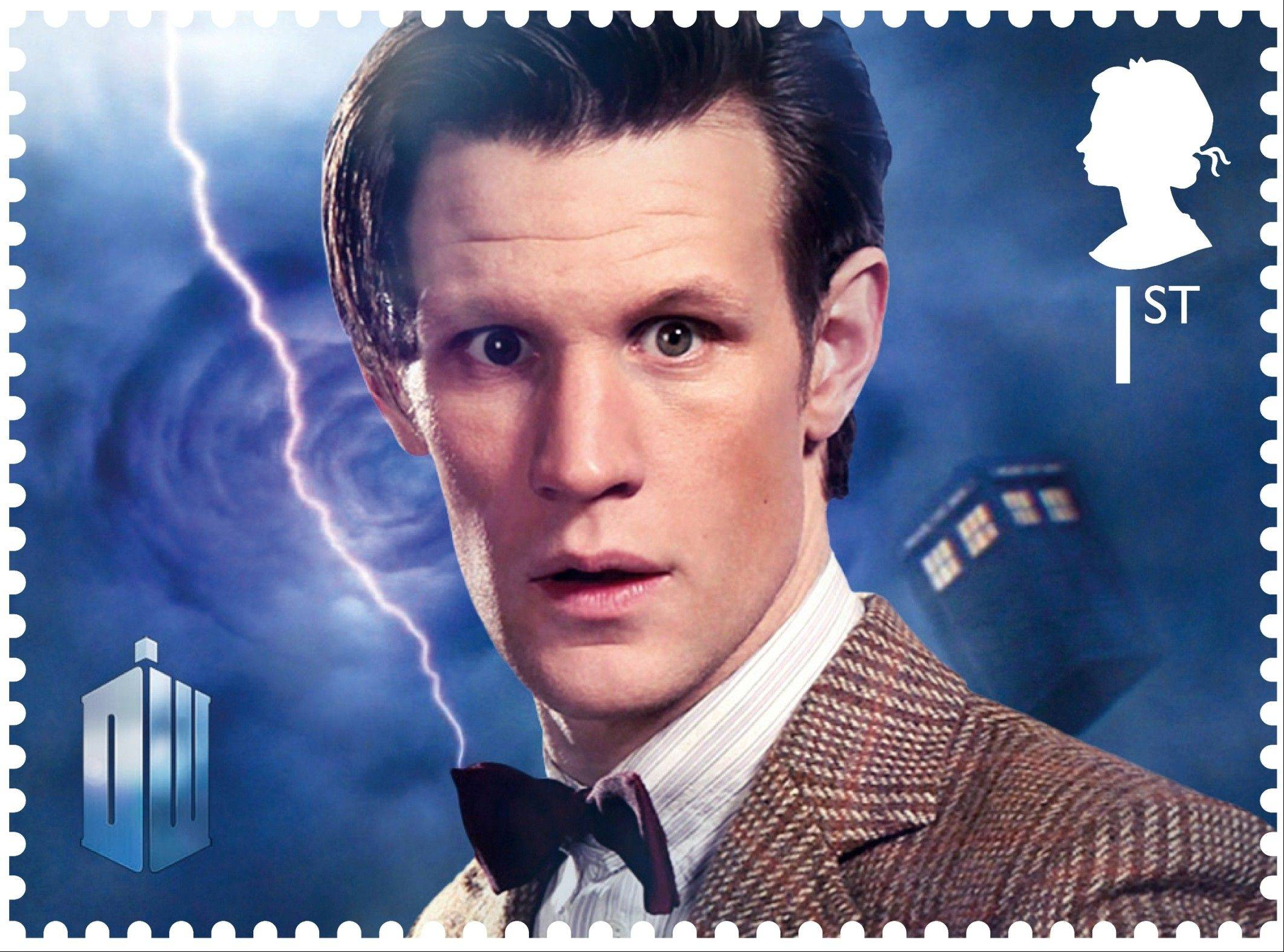Britain�s Royal Mail is marking the 50th anniversary of �Doctor Who,�� the science fiction program, with a series of stamps featuring each of the 11 actors who have played the title role. Those featured include the present doctor, Matt Smith as well as past Time Lords.