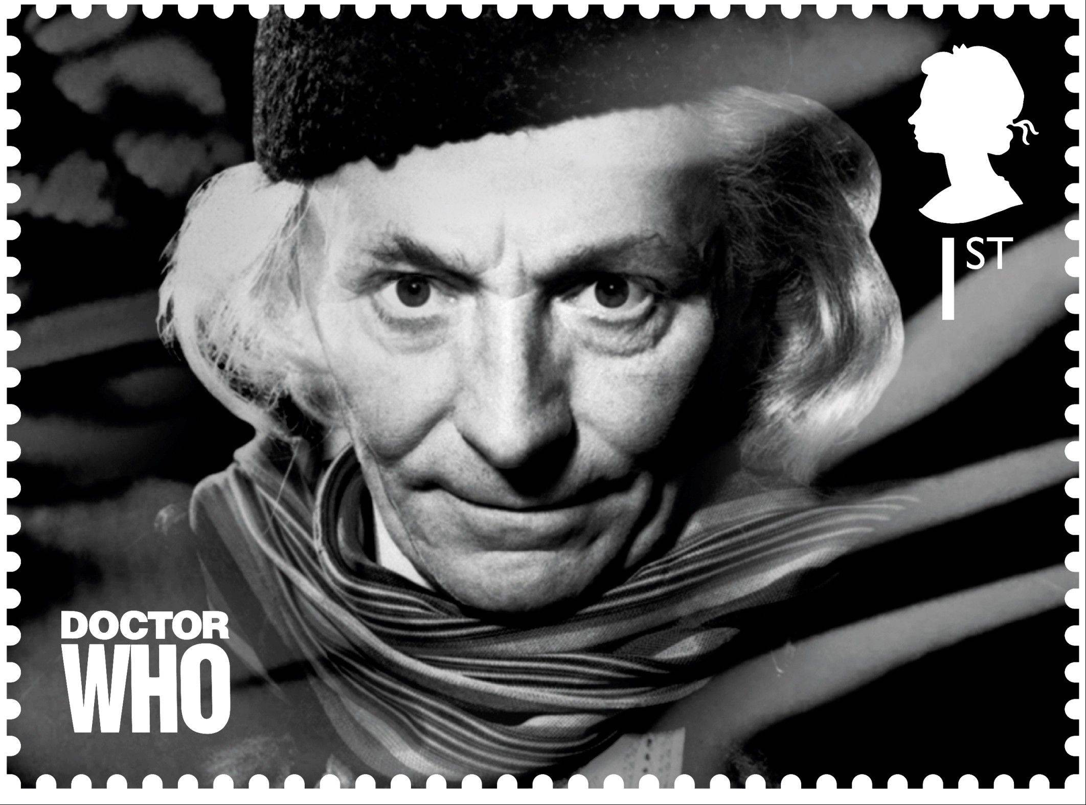 "A postage stamp with an image of the first Dr. Who William Hartnell is being released as part of the 50th anniversary of the popular British series ""Dr. Who."""