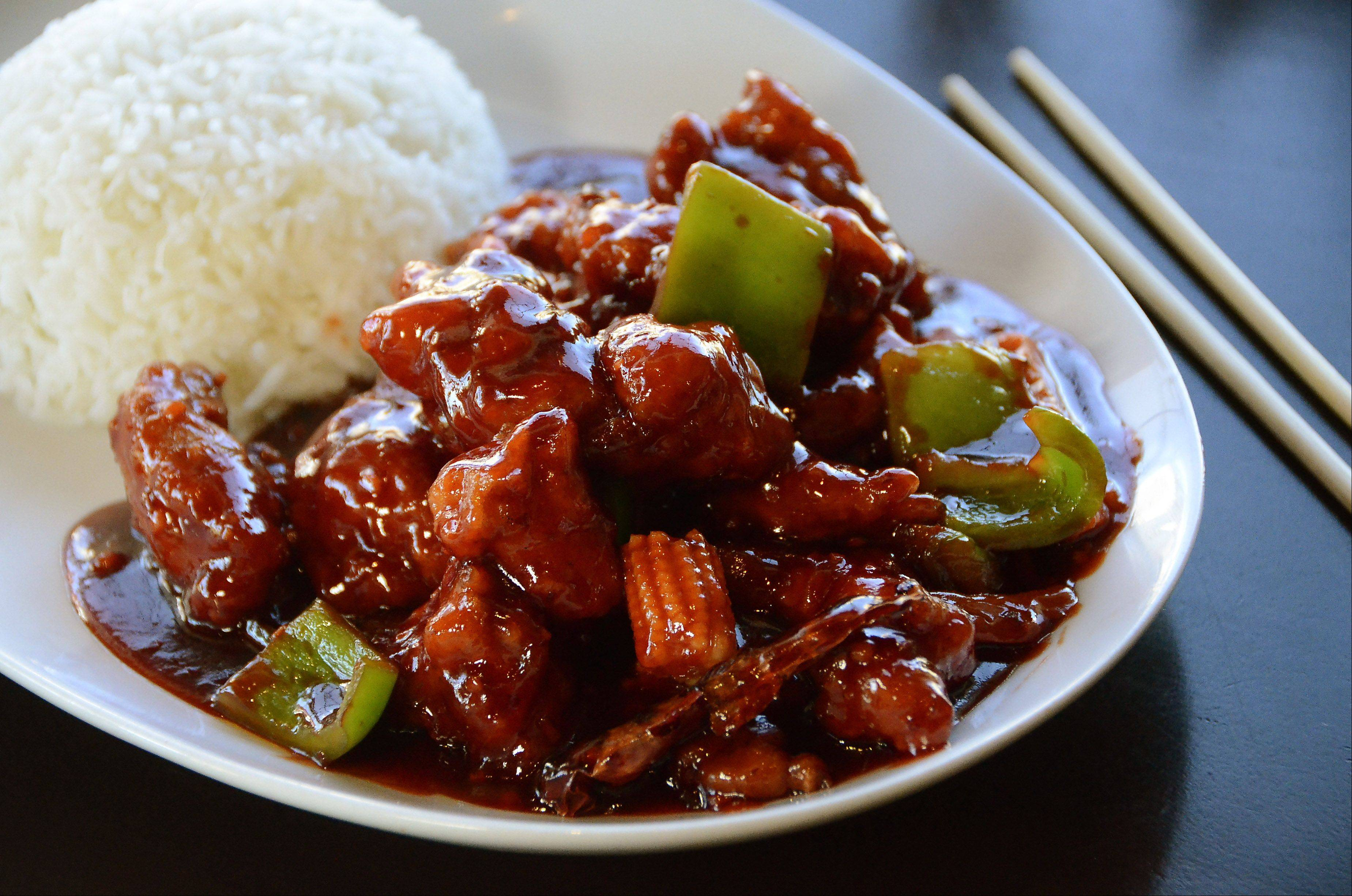 General Tso's chicken is full of crunchy vegetables and a sweet and spicy sauce at Bao Gourmet in Bartlett.