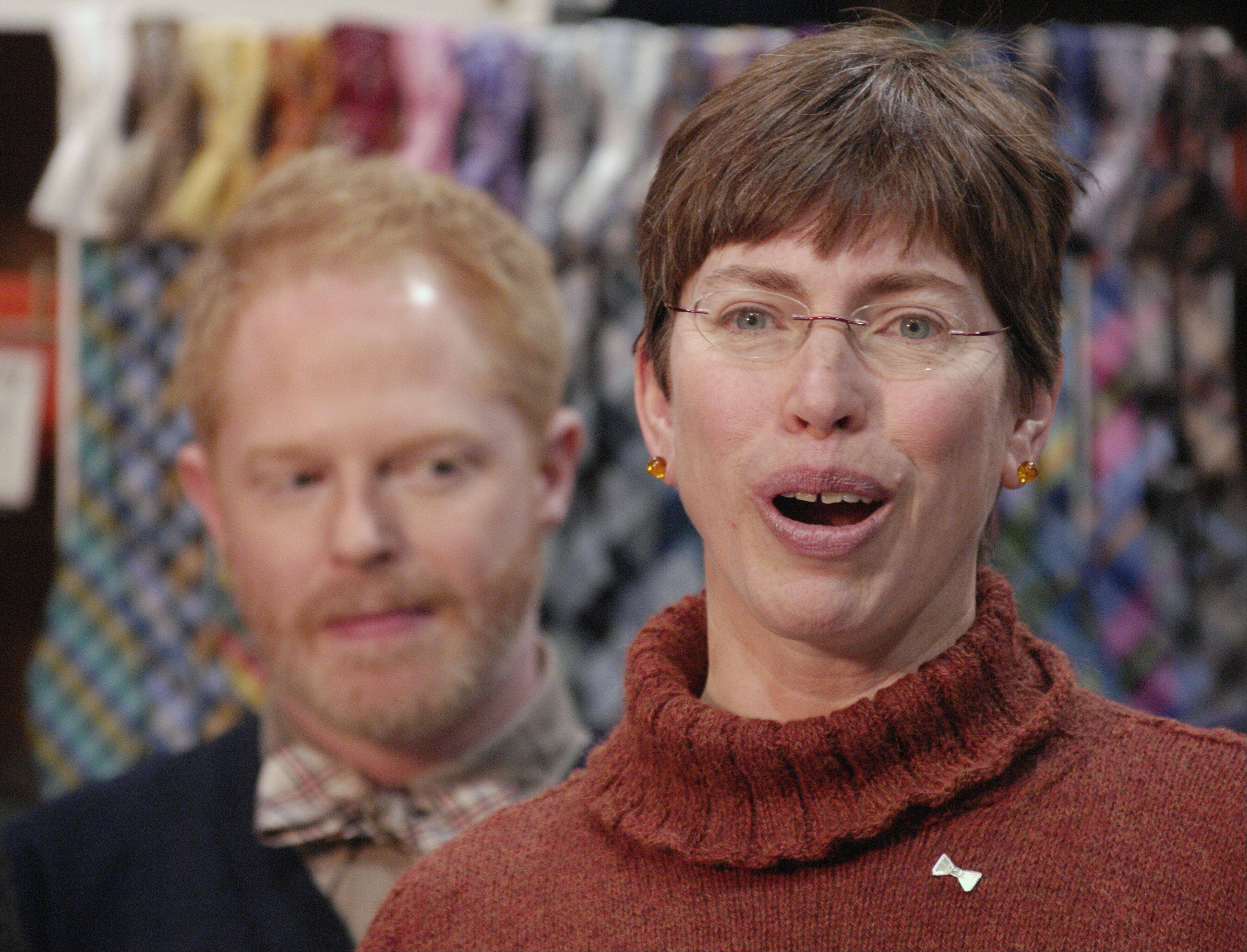 "Lt. Gov. Sheila Simon speaks Wednesday at The Tie Bar office in Naperville with Jesse Tyler Ferguson, a star of ABC's ""Modern Family."" The two were in town to launch Bow Tie Lobby Day, which supports marriage equality in Illinois."