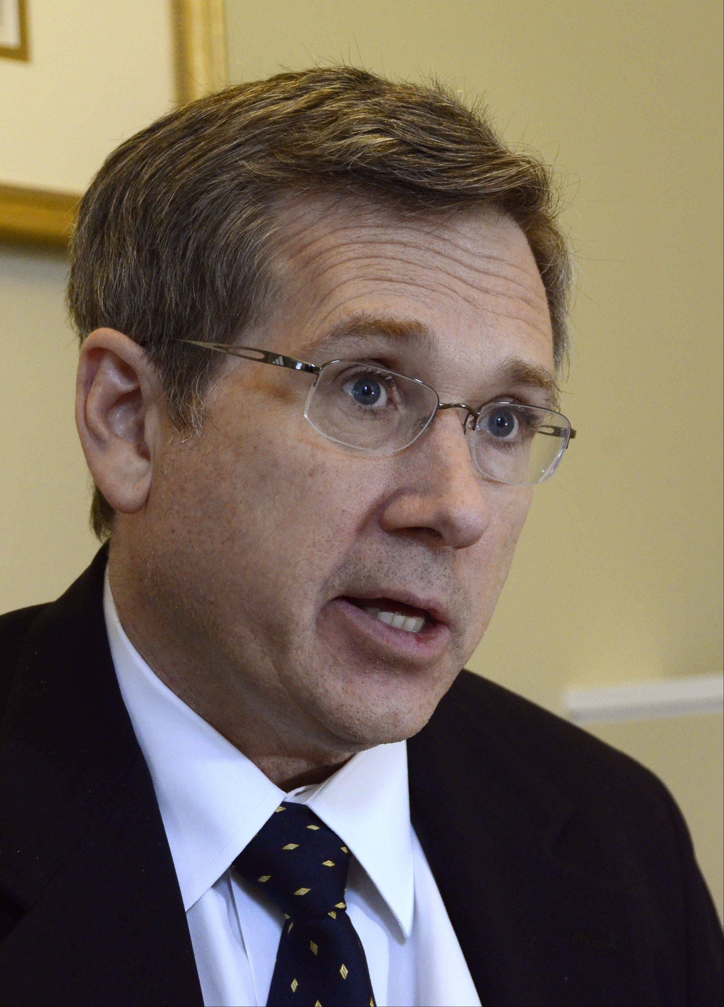 "U.S. Sen. Mark Kirk learned to walk again after a stroke through hours of physical therapy. ""Falling was very much a part of the experience,"" he said."