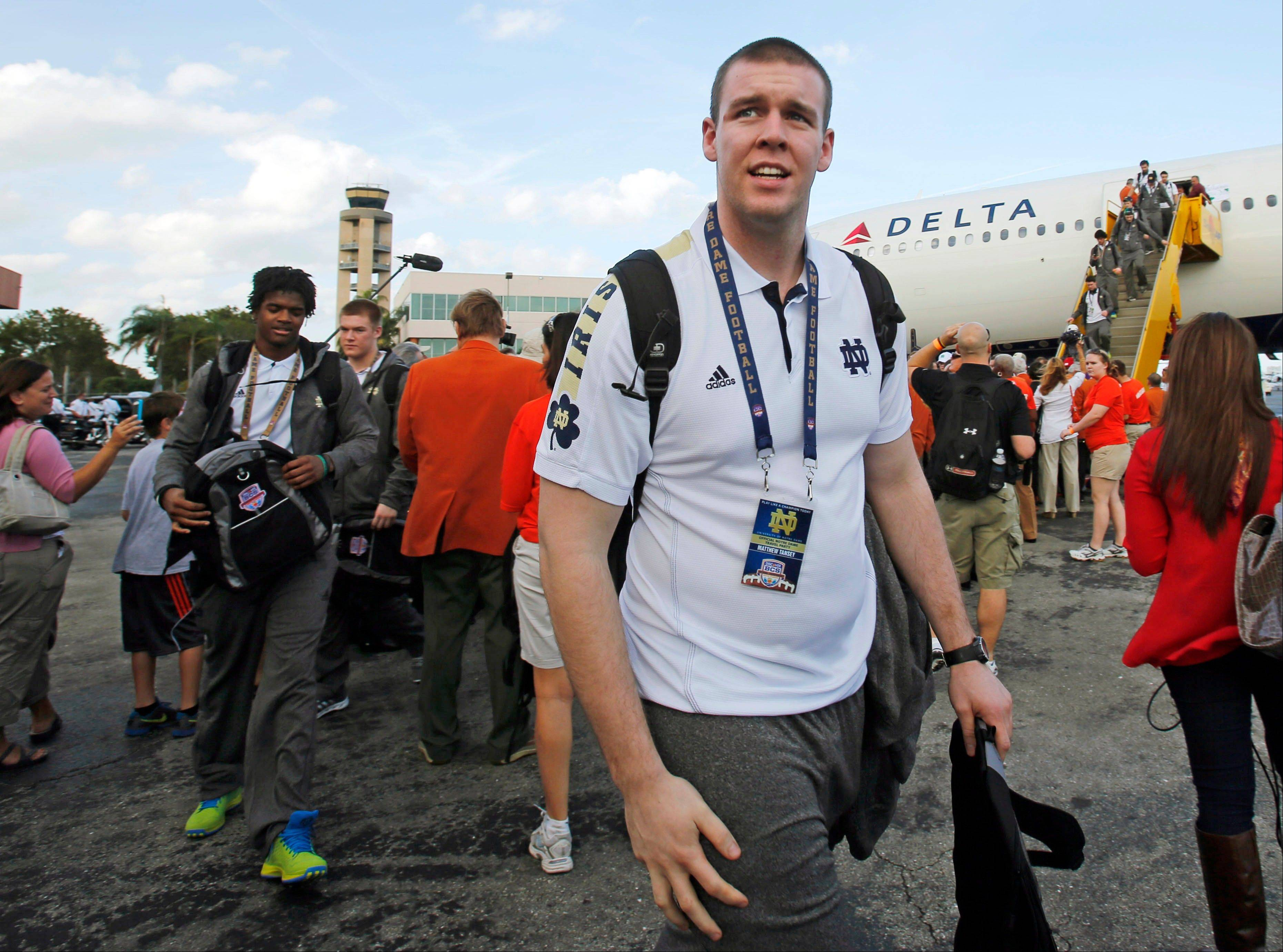 Notre Dame offensive lineman Matt Tansey arrives Wednesday in Fort Lauderdale, Fla.