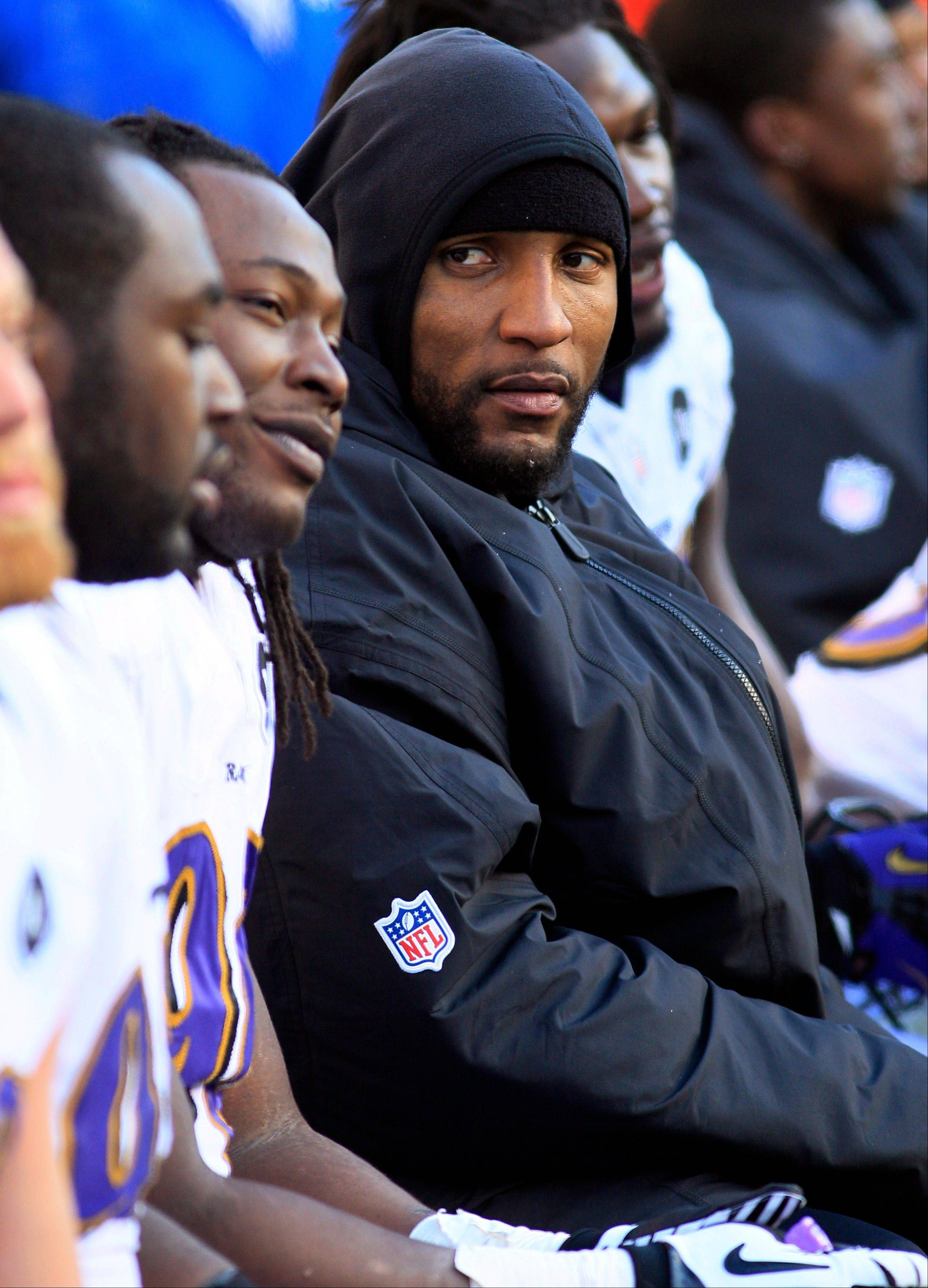 Baltimore Ravens inside linebacker Ray Lewis sits on the bench Sunday during the second half against the Cincinnati Bengals in Cincinnati. Lewis plans to retire at the end of the Ravens' season.