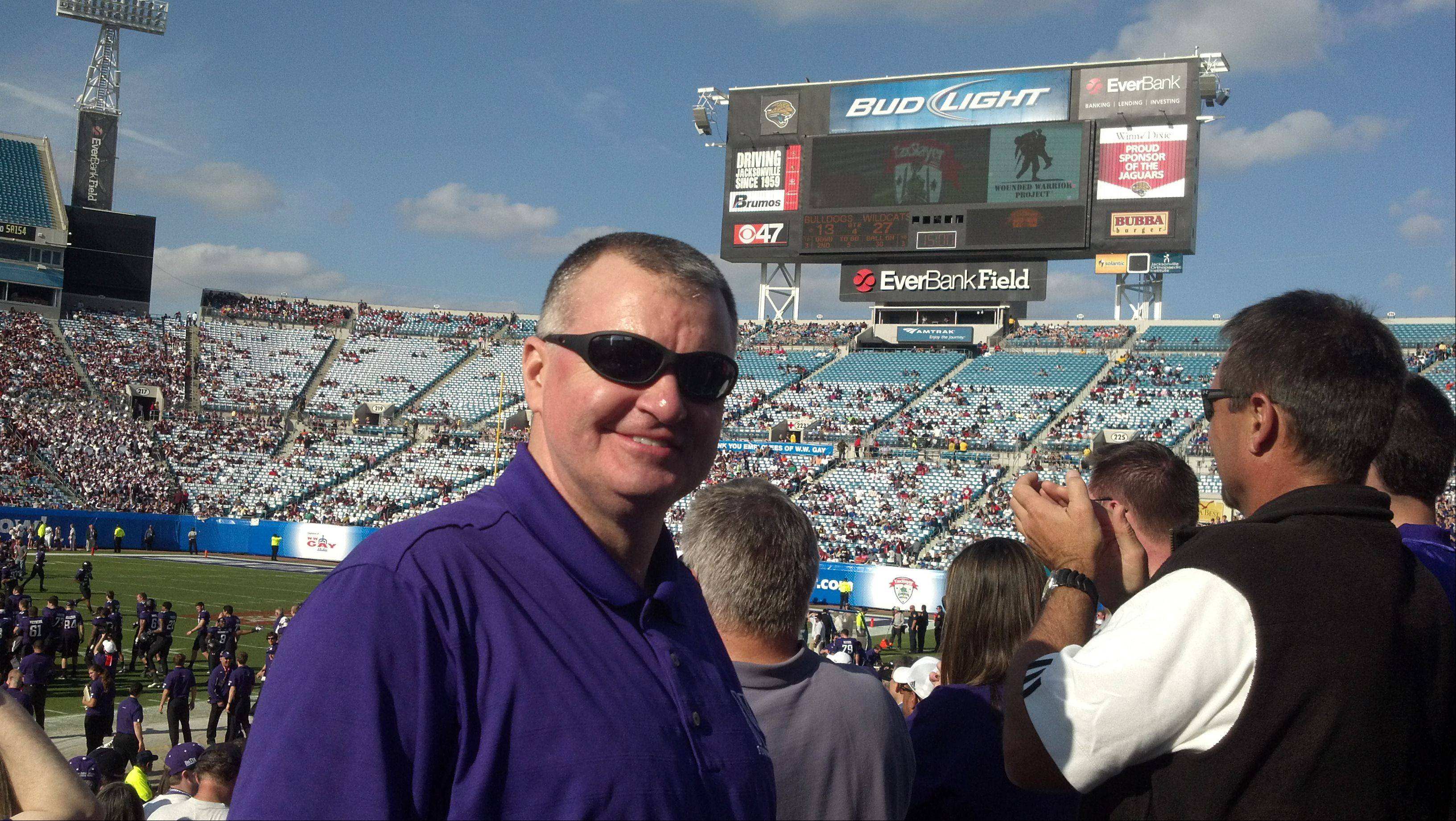 During the Gator Bowl in Jacksonville, Florida at Everbank Field.