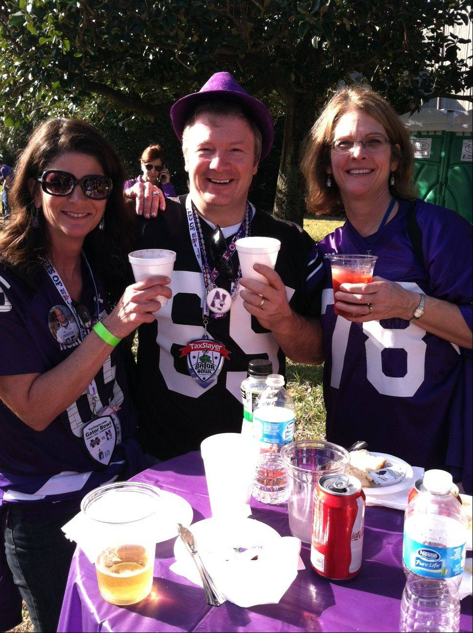 The pre-game tailgate with our friend Clare Jorgensen (her son Paul wears #81 for NU) at the Gator Bowl in Jacksonville, Florida at Everbank Field.