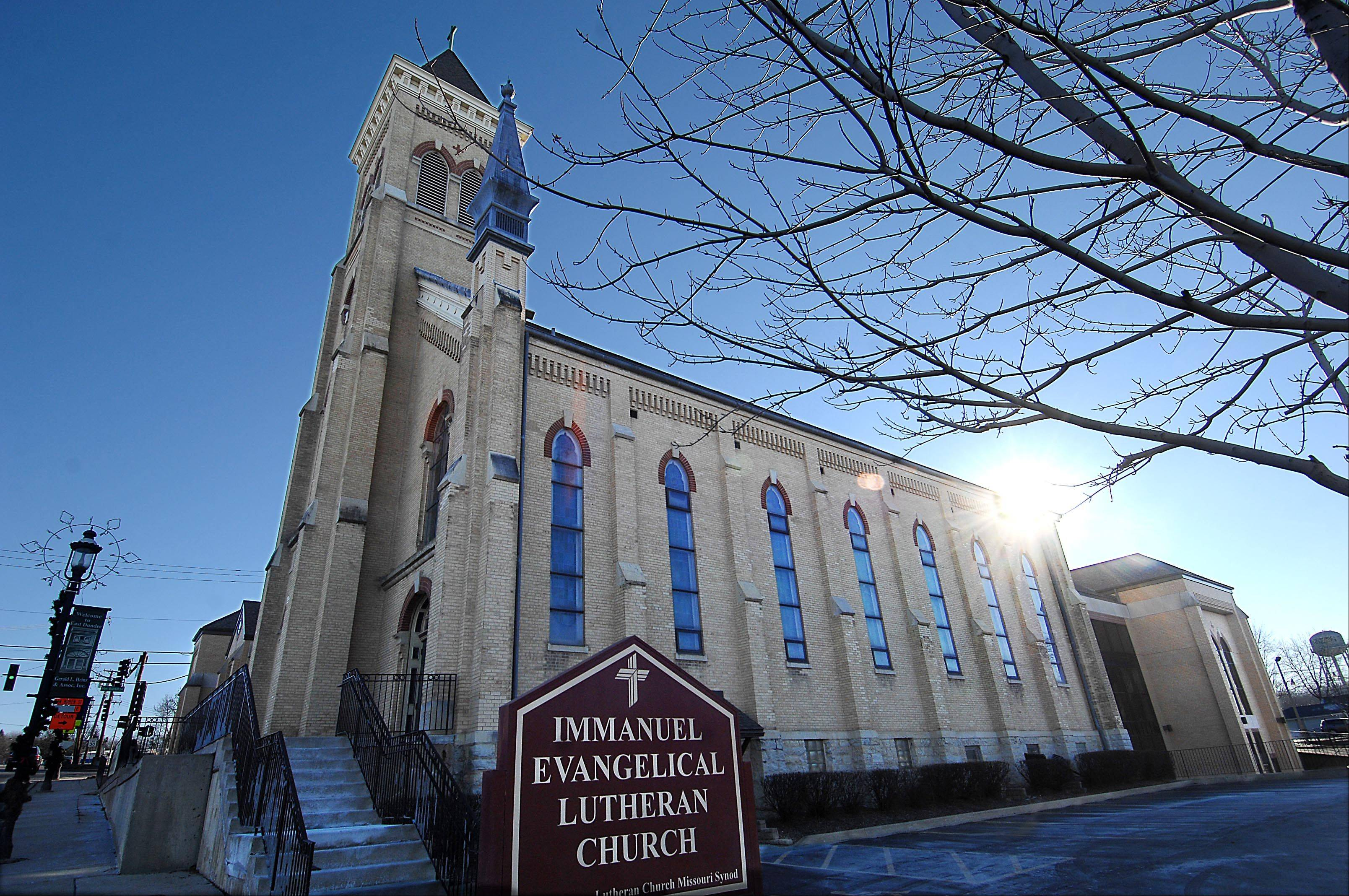 Immanuel Evangelical Lutheran Church stands at 310 E. Main St. in East Dundee. The congregation is celebrating its 150th anniversary.