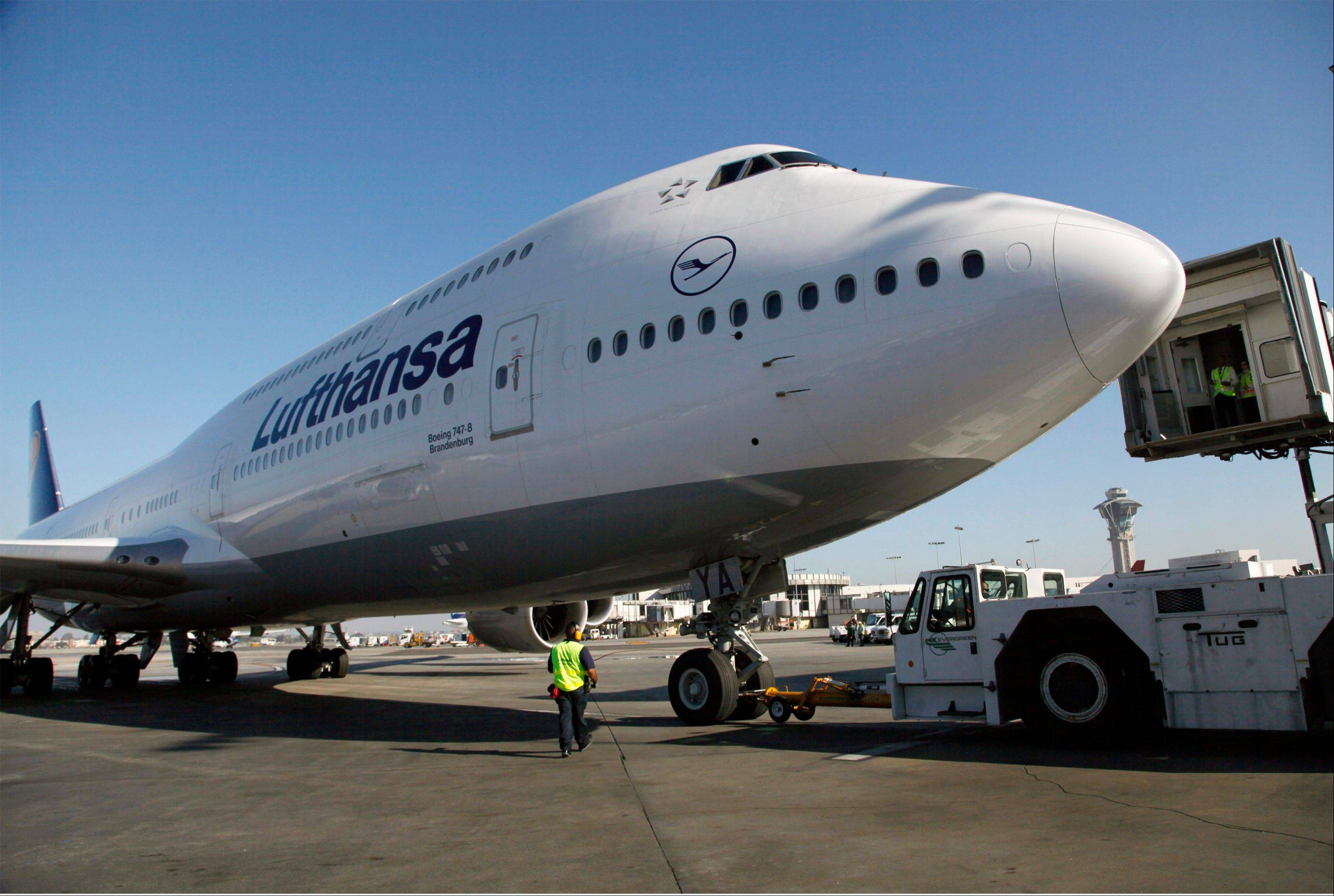 Lufthansa's Boeing 747-8 Brandenburg aircraft arrives at Los Angeles International Airport, after its inaugural passenger flight from Frankfurt, Germany to Los Angeles.