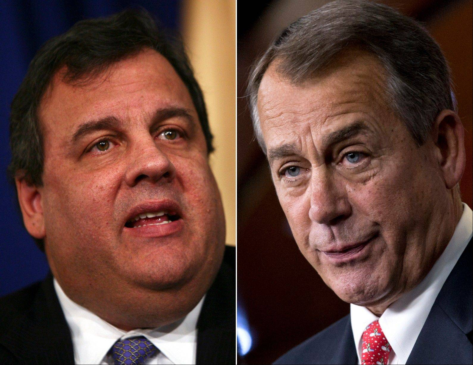 New Jersey Gov. Chris Christie, left, and U.S. Speaker of the House John Boehner, an Ohio Republican. Christie, a Republican who has praised President Barack Obama's handling of Superstorm Sandy, blasted Boehner Wednesday for delaying a vote for federal storm relief.
