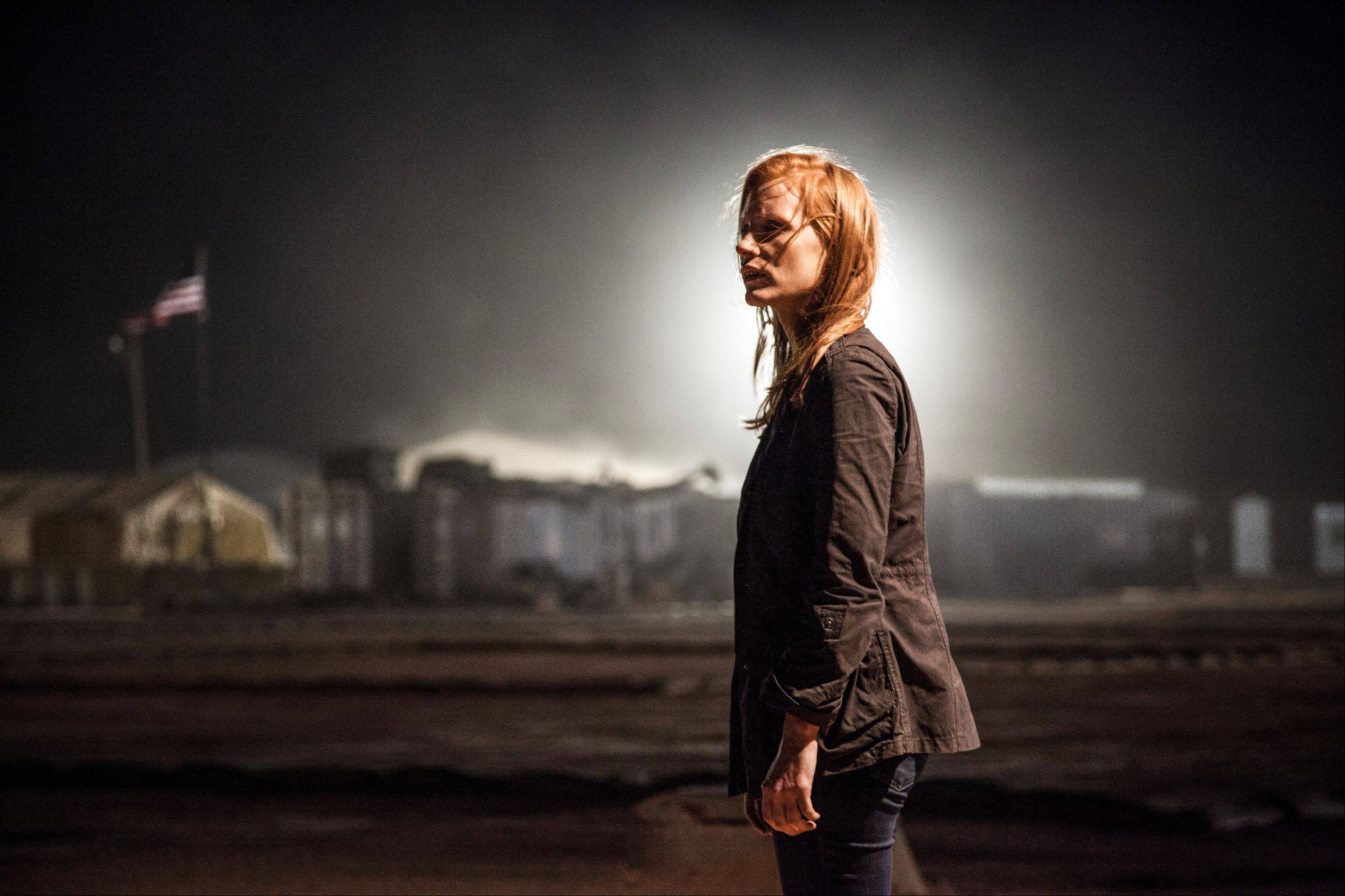 "Maya (Jessica Chastain) arrives at a secret CIA location in Kathryn Bigelow's fact-based thriller ""Zero Dark Thirty."""