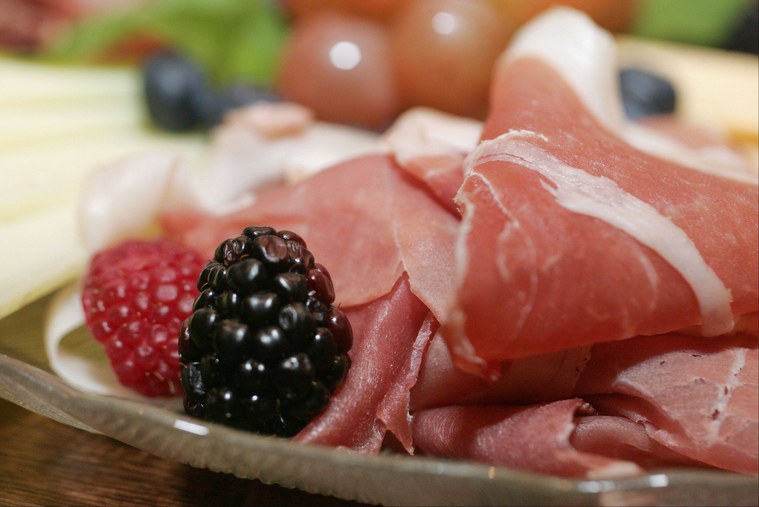 Bodega Grill & Wine Lounge's antipasti mista features prosciutto, serrano ham, salami, mixed cheeses and fruits.