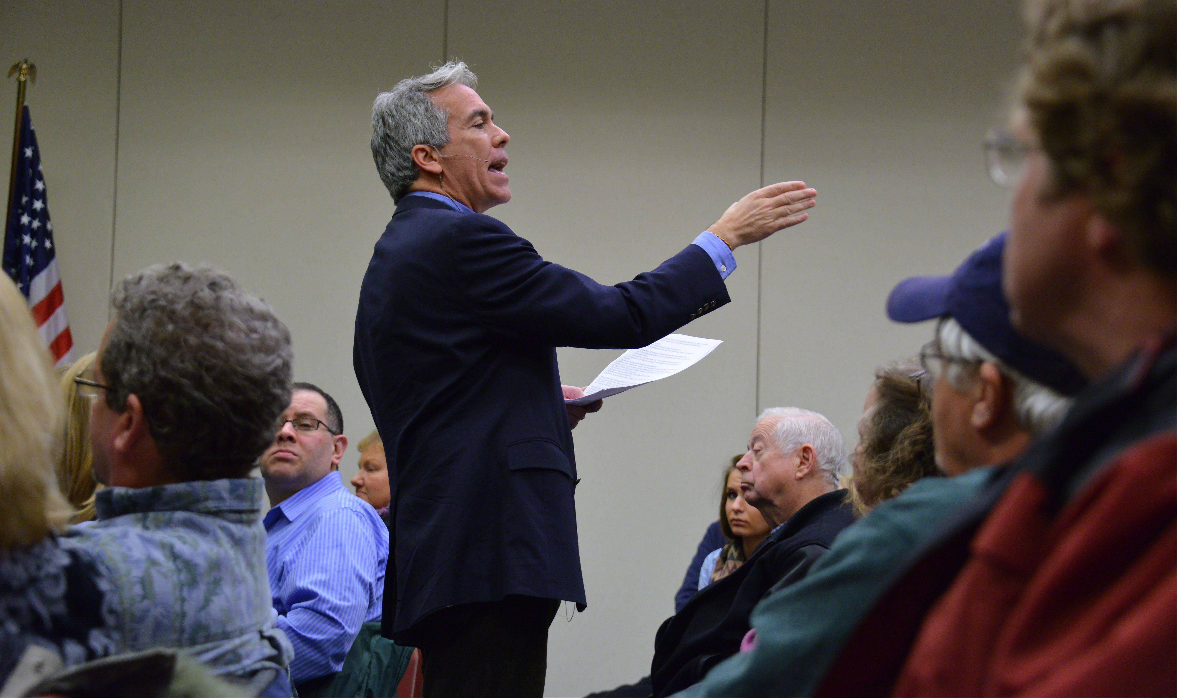 Former U.S. Rep. Joe Walsh made his first public appearance as an ex-congressman at the Arlington Heights Memorial Library on Thursday night and spoke to over 100 people. He spoke about several subjects, including the country's future and his future in politics.