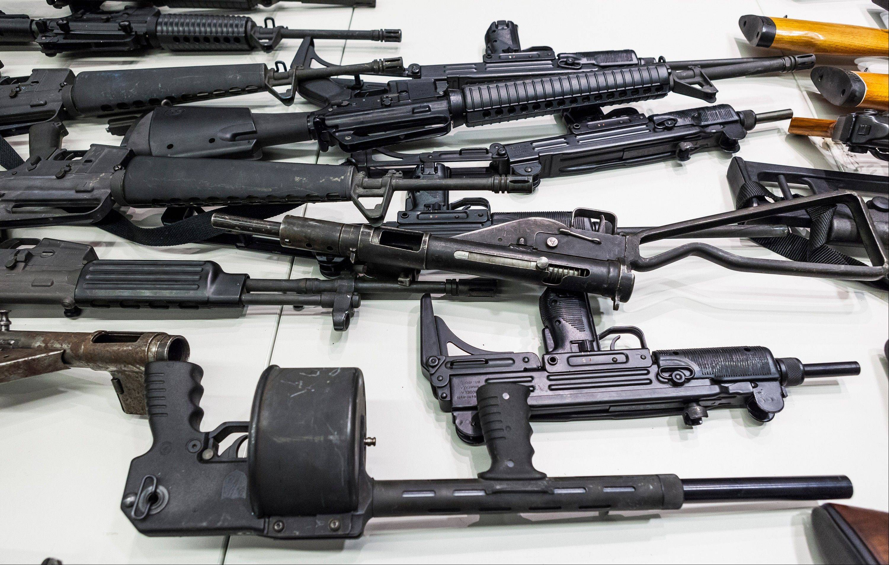 Some of the weapons collected in Los Angeles' Gun Buyback event last month are seen here.