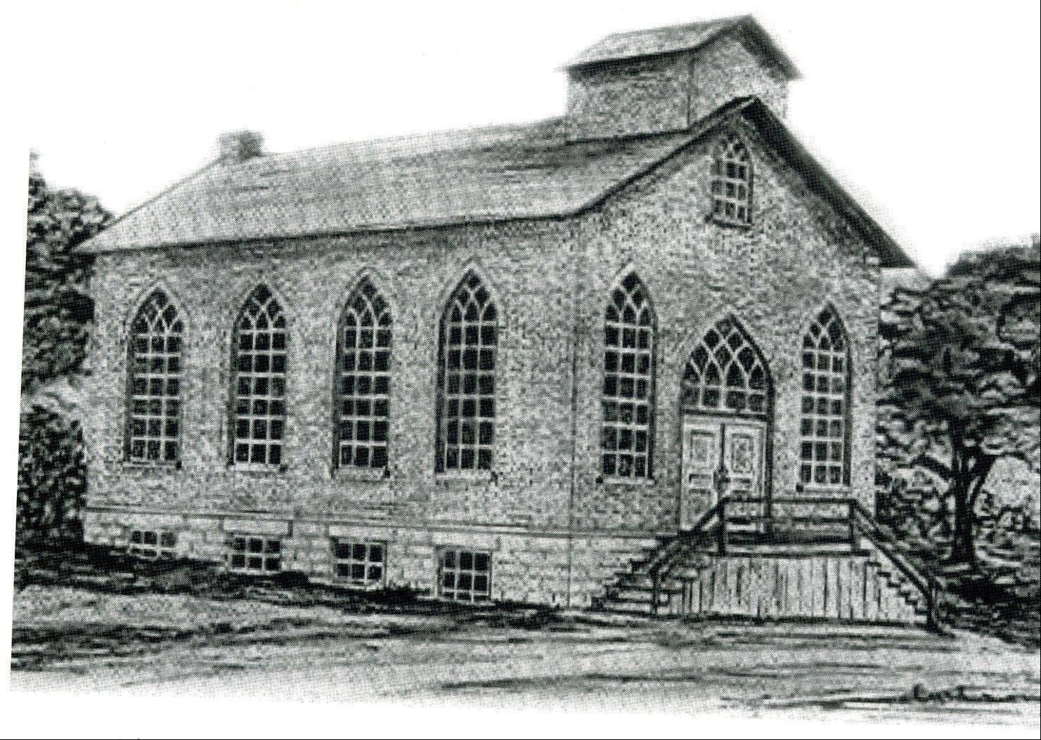 "Immanuel Lutheran's first church building, finished and dedicated in 1865, is shown in this photo from the book ""Immanuel God With Us."""