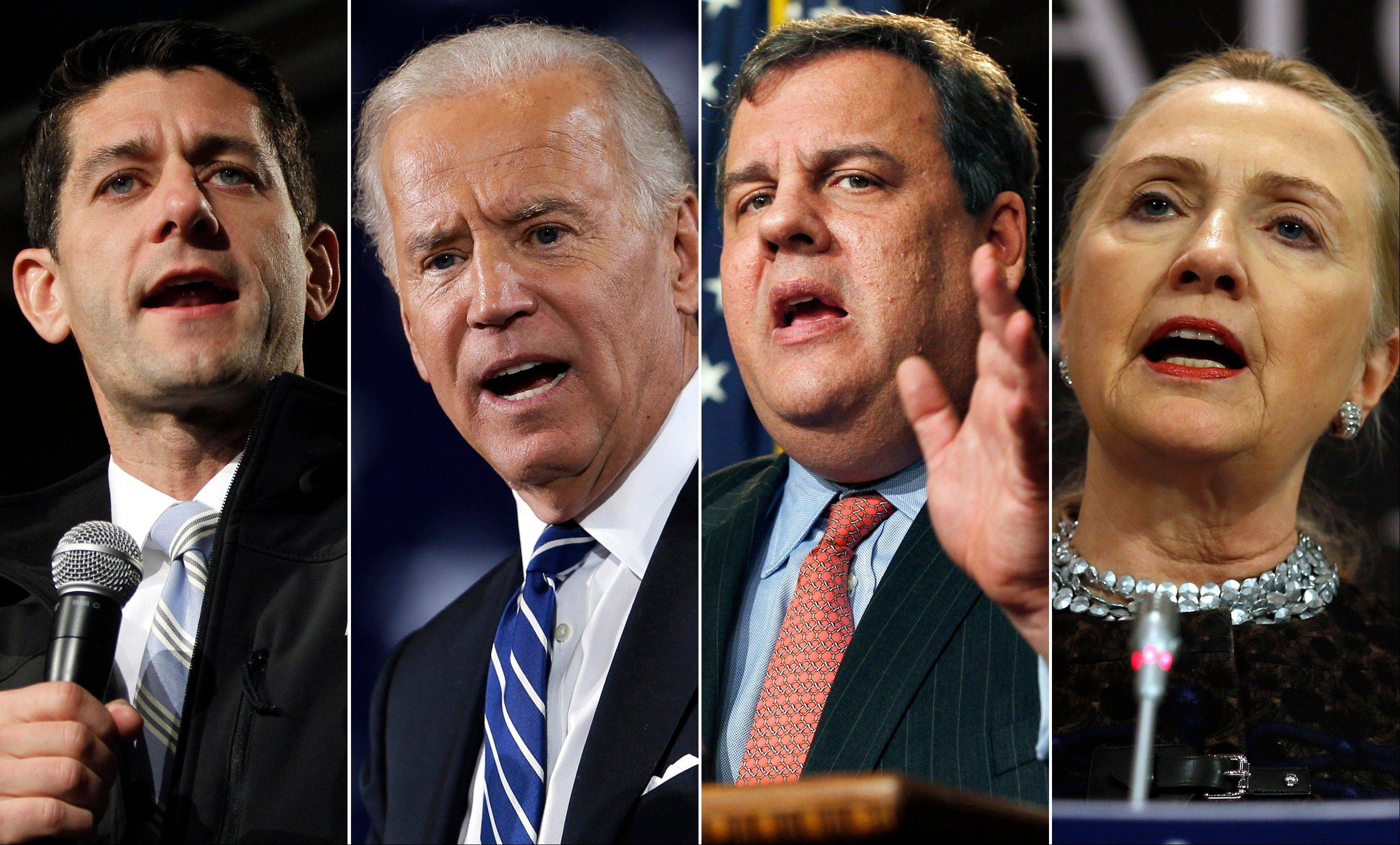 From left, Rep. Paul Ryan, a Wisconsin Republican, Vice President Joe Biden, New Jersey Gov. Chris Christie, and Secretary of State Hillary Rodham Clinton. While the next presidential primary voting is still three years away, the political implications of the actions and whereabouts of the potential field of 2016 candidates hung over a dramatic year-end period.