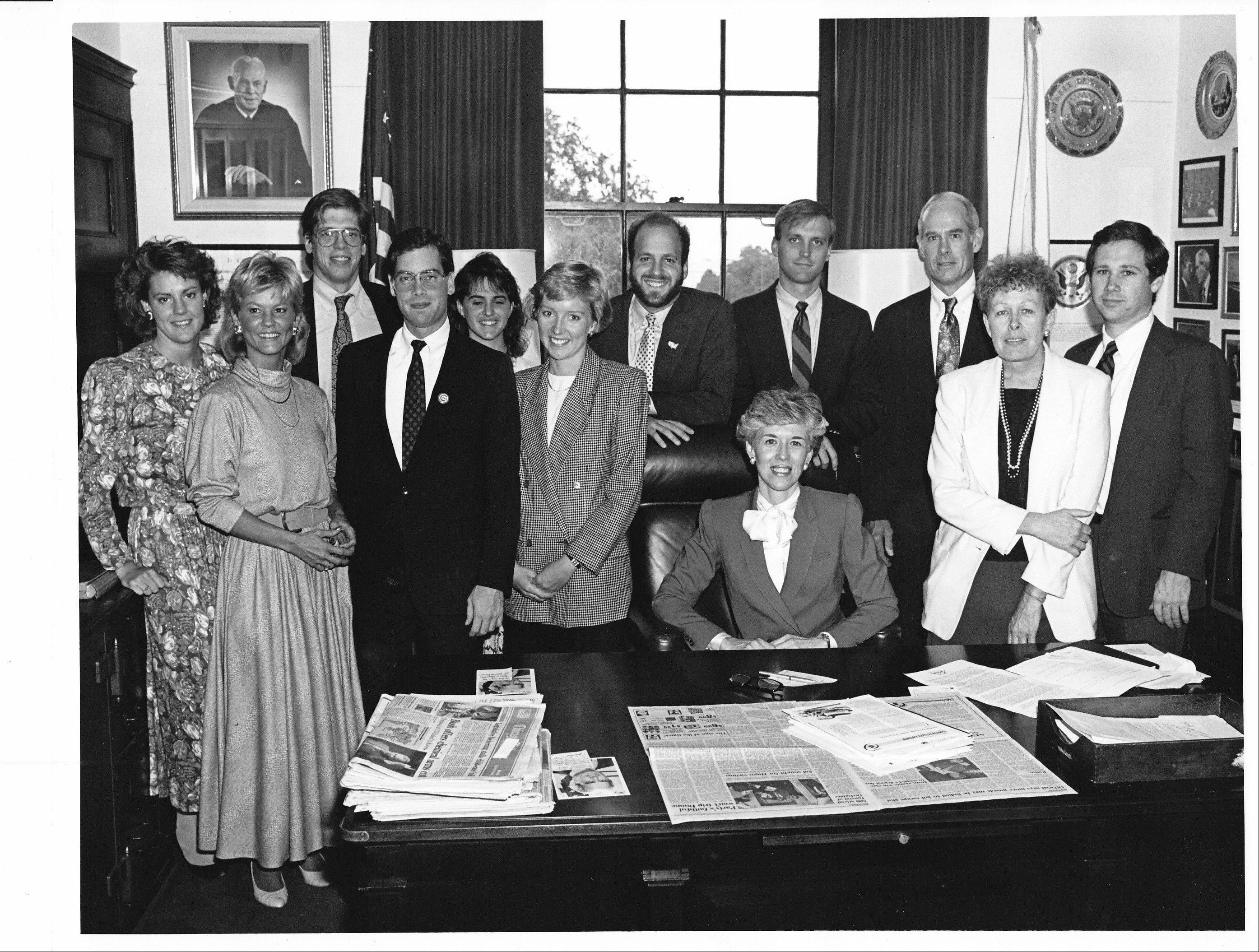 10th District Congressman John Porter's staff in the late 1980s, including now Sen. Mark Kirk, to the far right, and Porter, third from right. Members of the group say Kirk's stroke reminded them of life's fragility and caused them to rekindle their friendships.