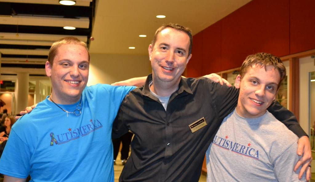 Brothers Jason (left) and Benjamin Zielinski (right) recently celebrated the two-year anniversary of Autismerica with College of DuPage Counselor Michael Duggan (center). Jason serves as President and Benjamin as Vice President of the educational and social club for students with autism.