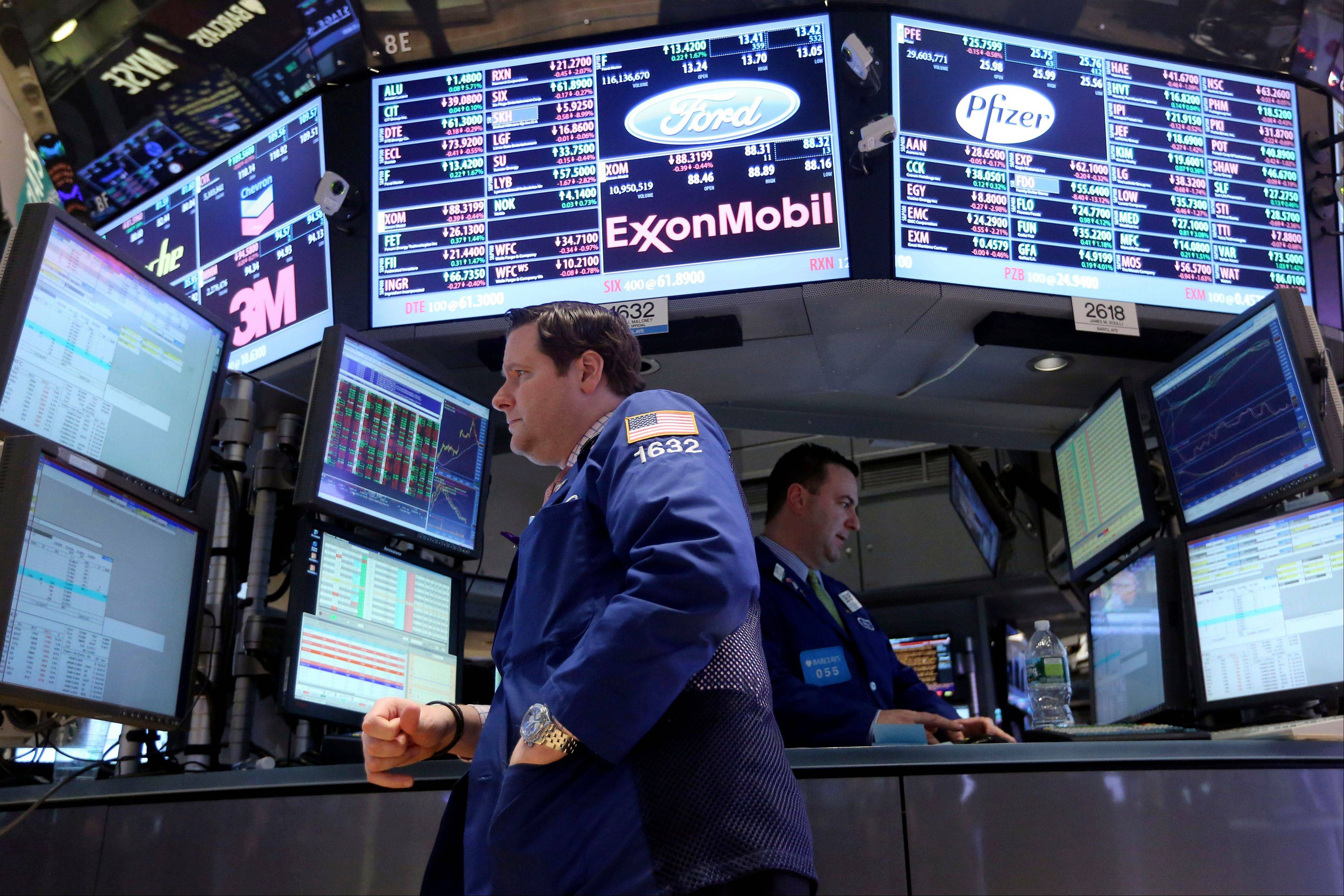 Stocks edged higher after a report showed that hiring held up in December, keeping the Dow on track for its best week in more than six months. The Dow Jones industrial average was up 16 points to 13,407 as of 1:22 p.m. EST Friday. It's up 3.6 percent for the week, putting it on track for its biggest weekly advance since June.