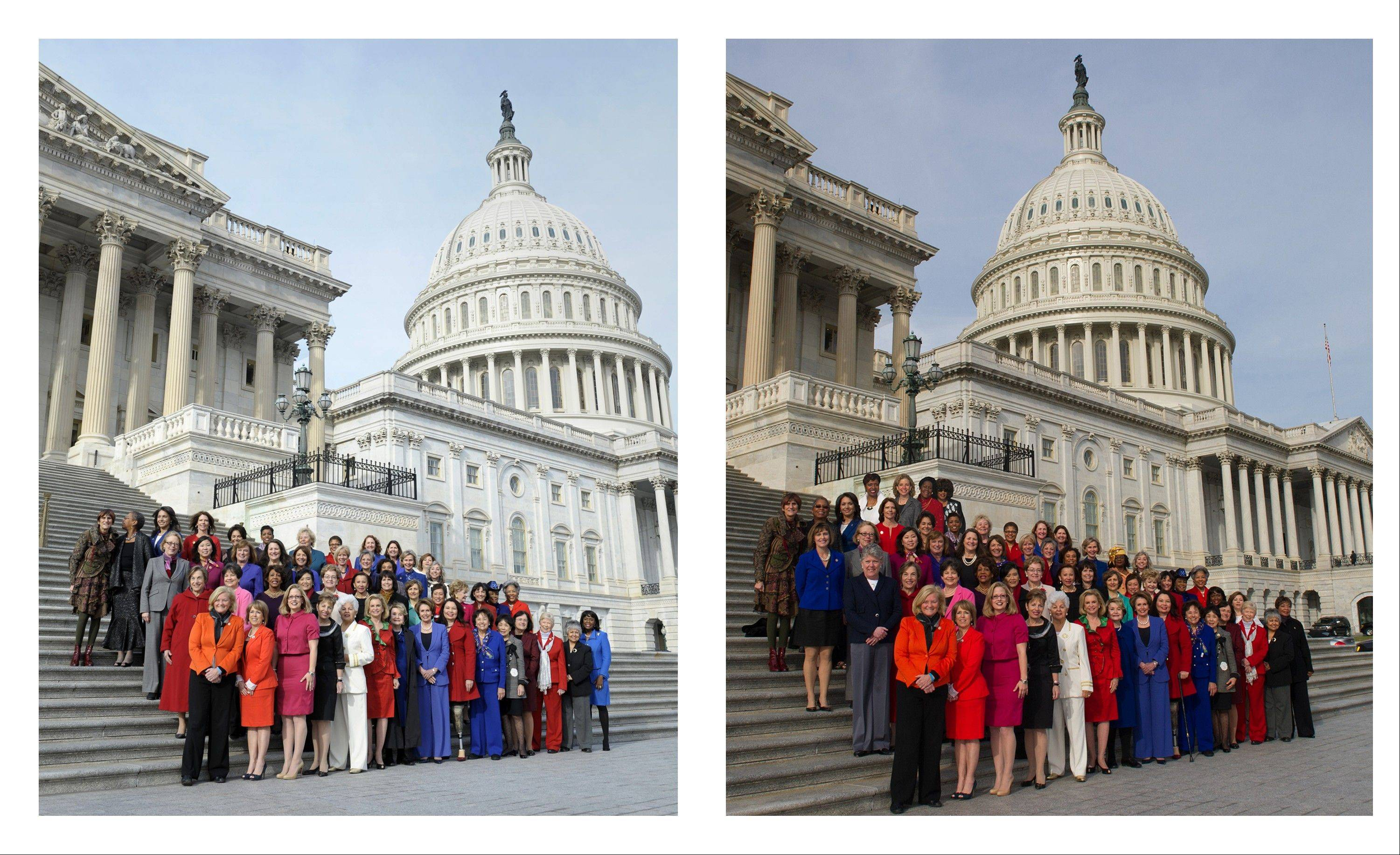 Associated Press This combo of two photos shows, at left, an Associated Press photo taken Jan. 3, 2013 of House Minority Leader Nancy Pelosi posing with female House members on Capitol Hill in Washington, and at right, a screen grab from Pelosi�s Flickr page of an altered photo of Pelosi with female House members on Capitol Hill in Washington. The group photo shows four House members, in the back row, who arrived too late to pose on the Capitol steps.