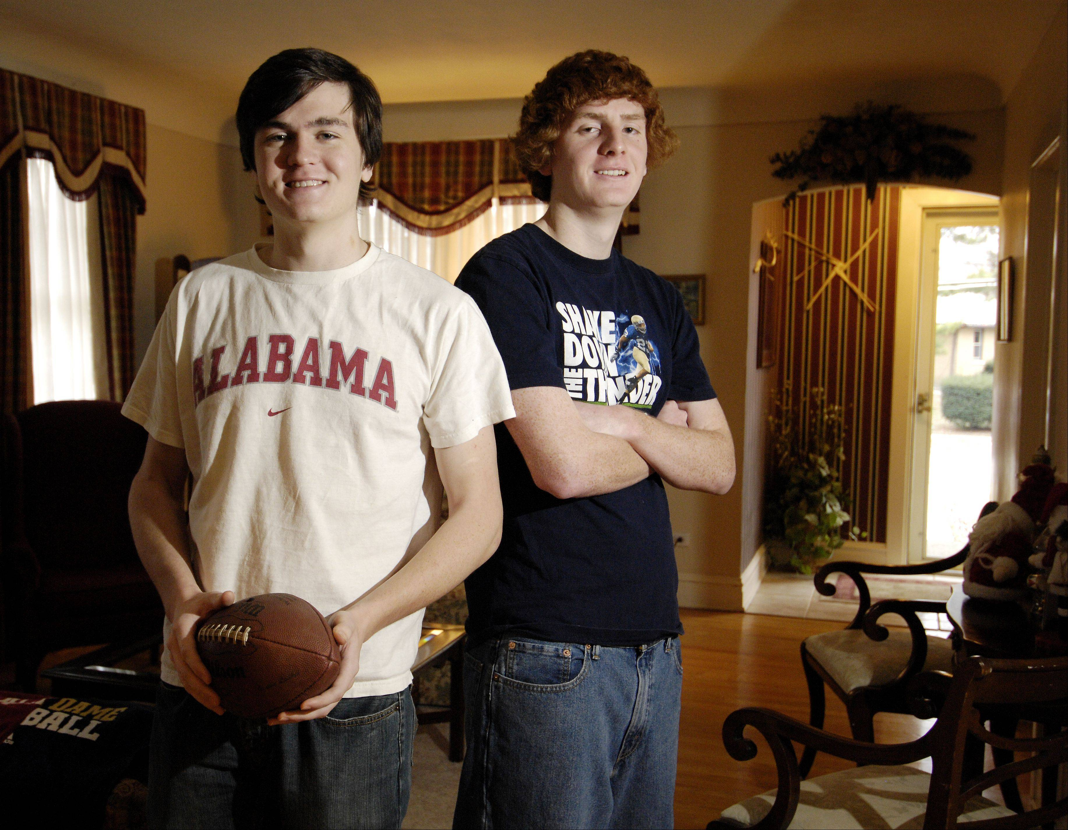 Bobby Miller, a junior at the University of Alabama, and his brother Jimmy, a freshman at the University of Notre Dame, will travel with the rest of their family from Lombard to Florida for Monday's BCS National Championship game between their schools.