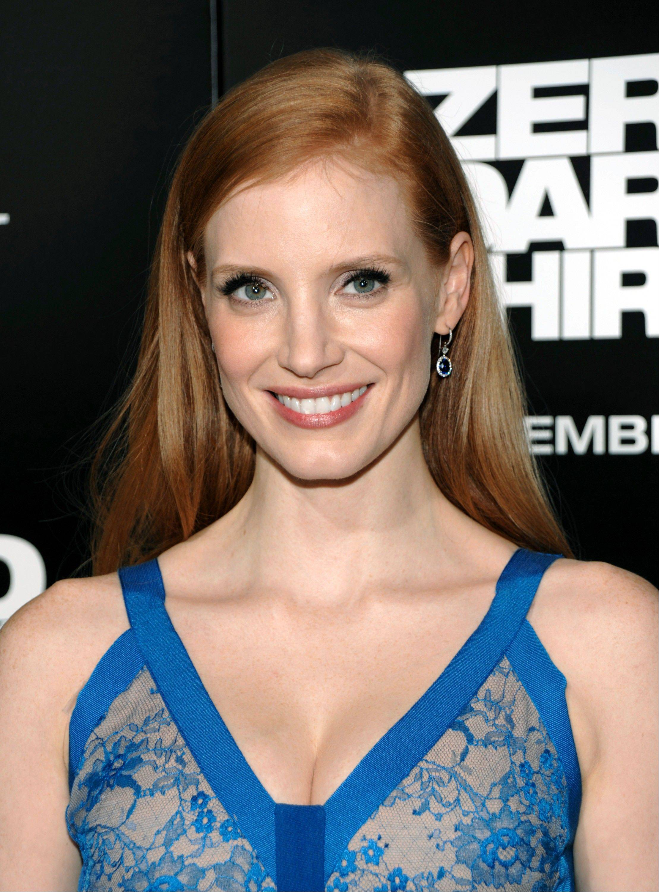 "Jessica Chastain's performance in ""Zero Dark Thirty"" has already earned her best actress nominations from the Golden Globes and the Screen Actors Guild."