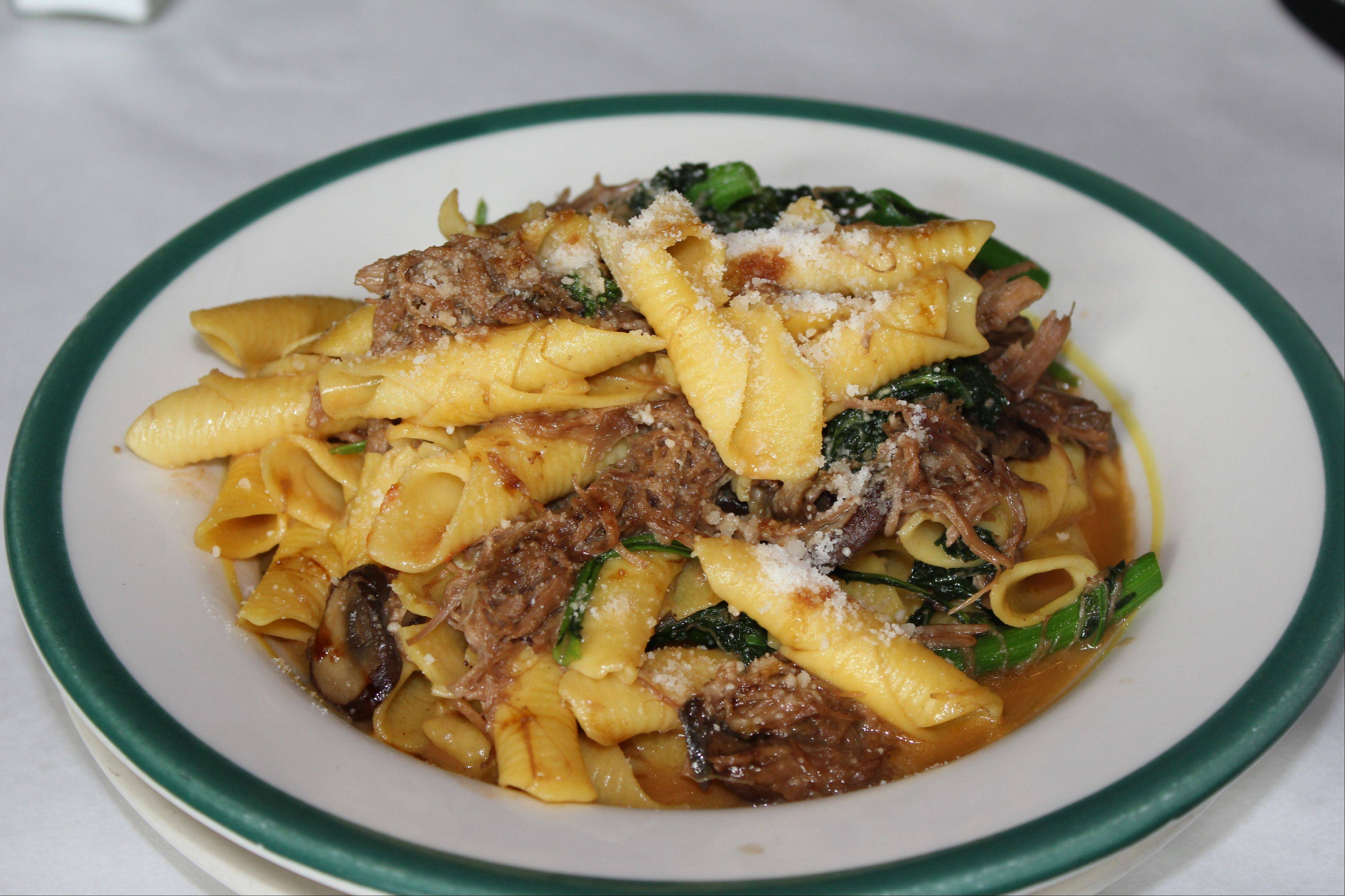 Carlucci's chef Jonathan Harootunian's new menu includes garganelli with duck, wild mushrooms, broccoli rapini and fig syrup.