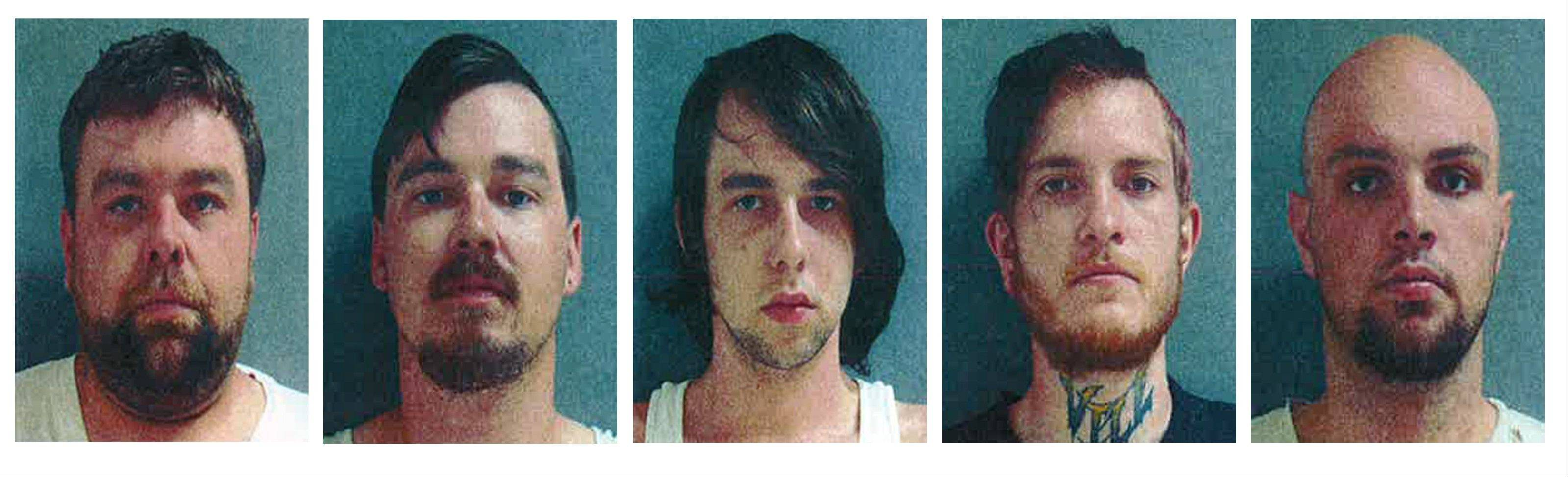 This combo of photos provided by the Tinley Park Police Department shows, from left: Jason Sutherlin, Cody Sutherlin, Dylan Sutherlin, Alex Struck and John Tucker. All five pleaded guilty to a May 19 mob attack in Tinley Park.