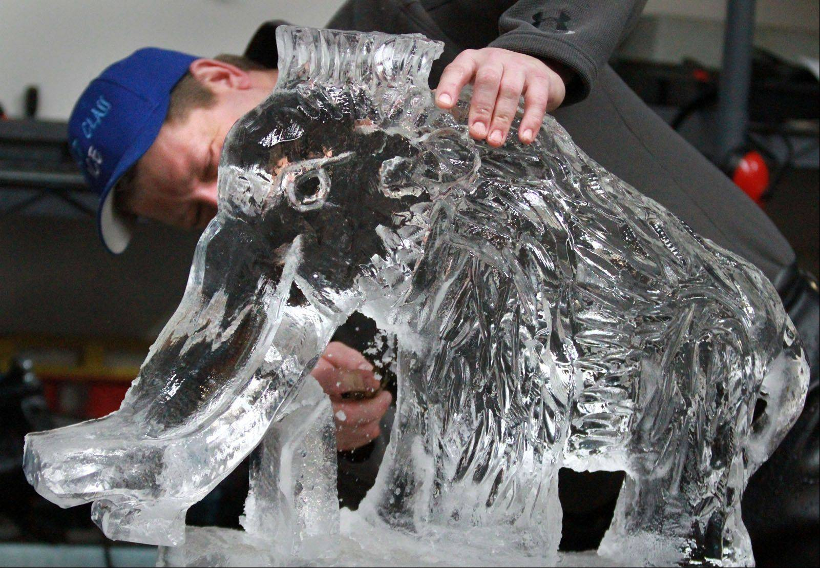 Dan Rebholz carves texture into an elephant sculpture at his World Class Ice Sculpture studio in Villa Park.