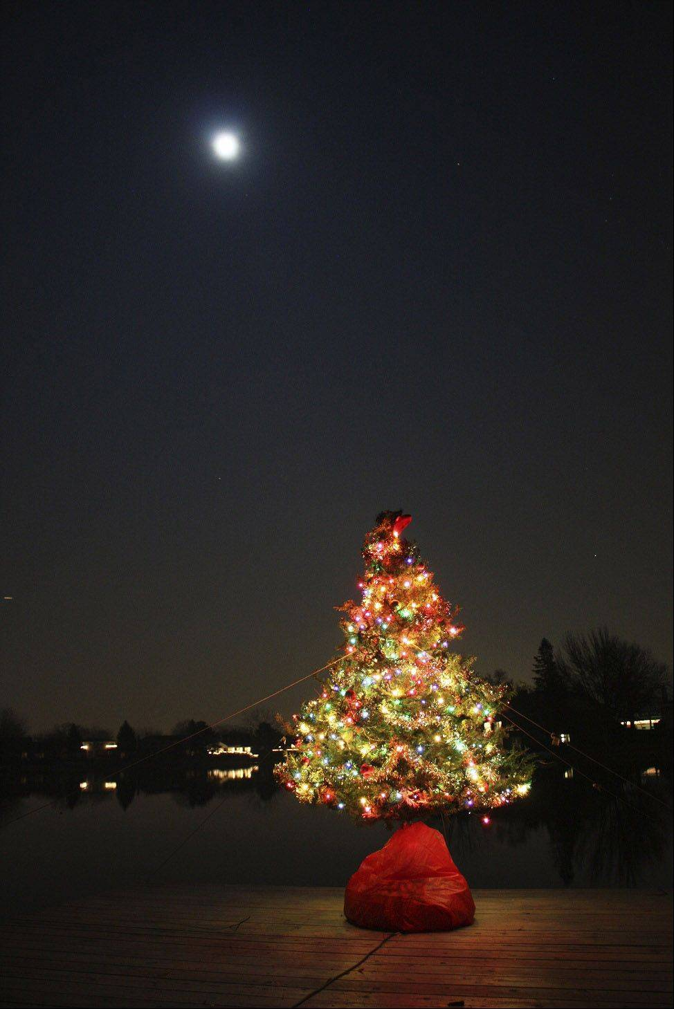 A Christmas tree sits on the edge of a dock on Virginia Lake in Palatine during a full moon.
