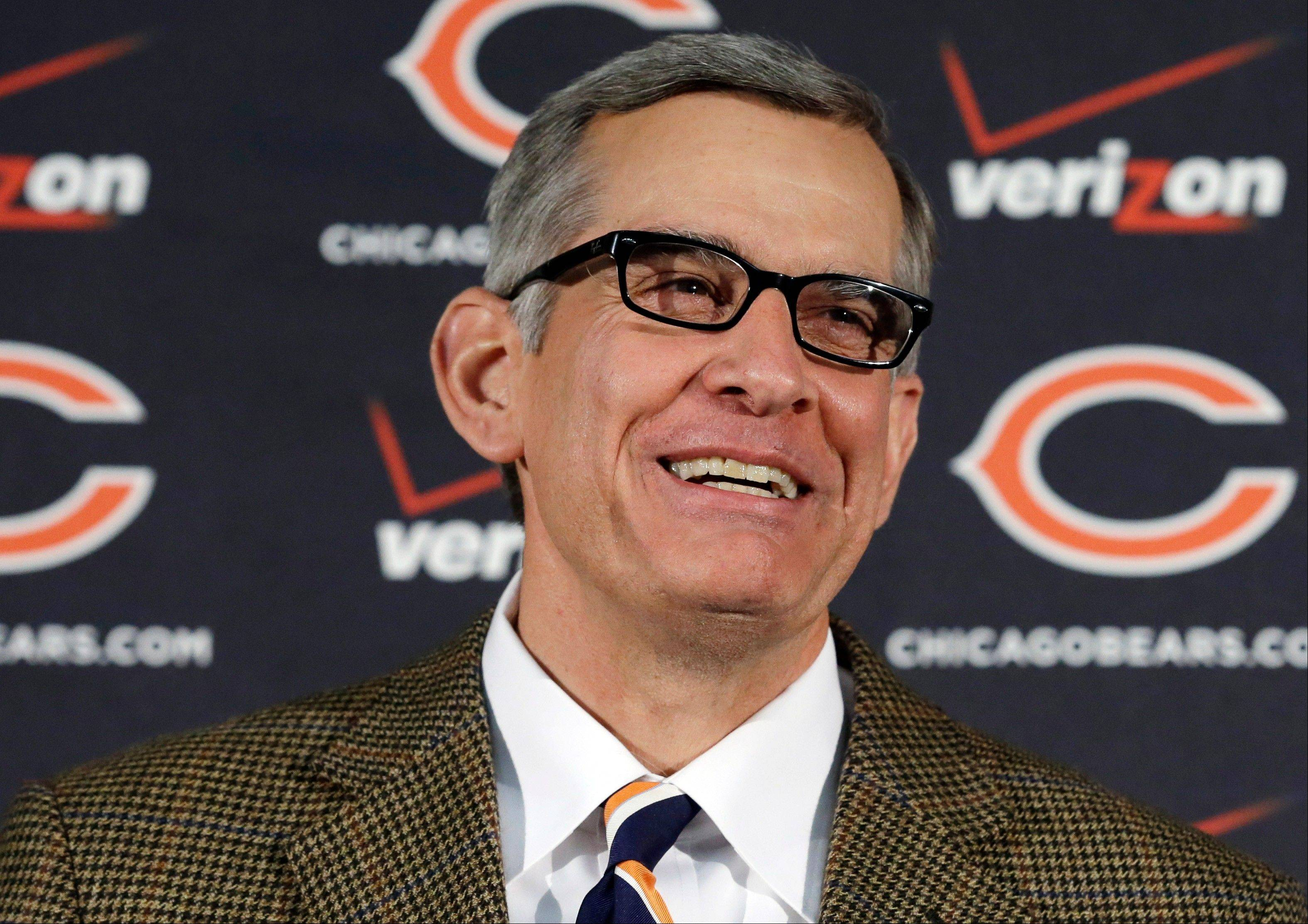 Bears general manager Phil Emery smiles as he addresses the media this week.