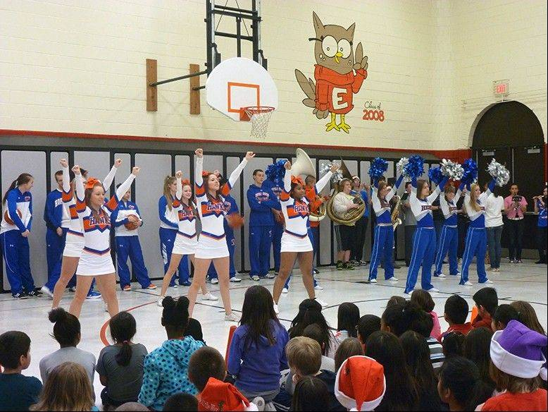 Students from Hoffman Estates High School's cheerleading, pompoms, band, and girls and boys basketball teams participated in the assemblies.